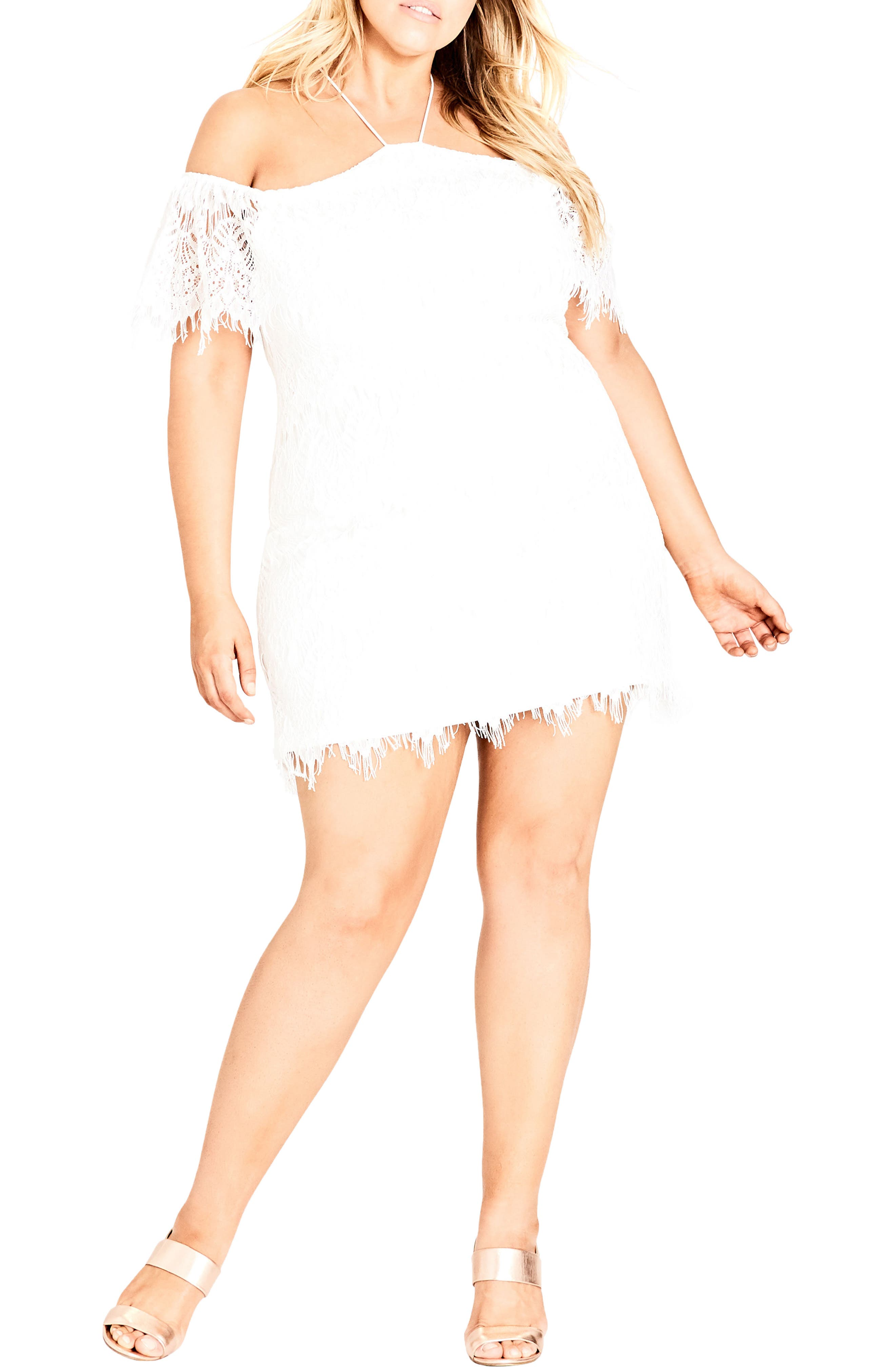 Lace Devotion Off the Shoulder Minidress,                             Main thumbnail 1, color,                             Ivory