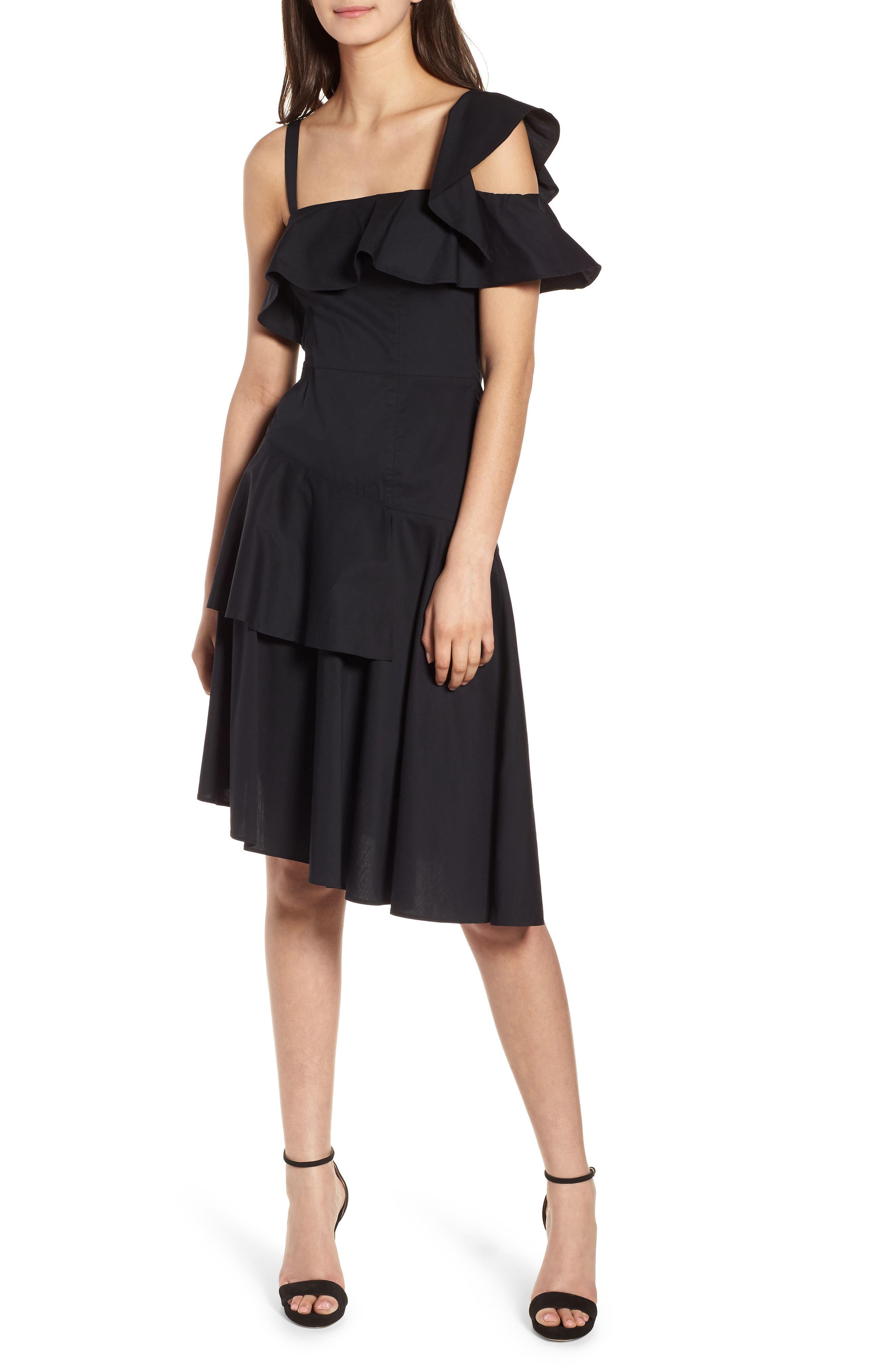 Ruffle One-Shoulder Dress,                         Main,                         color, Black