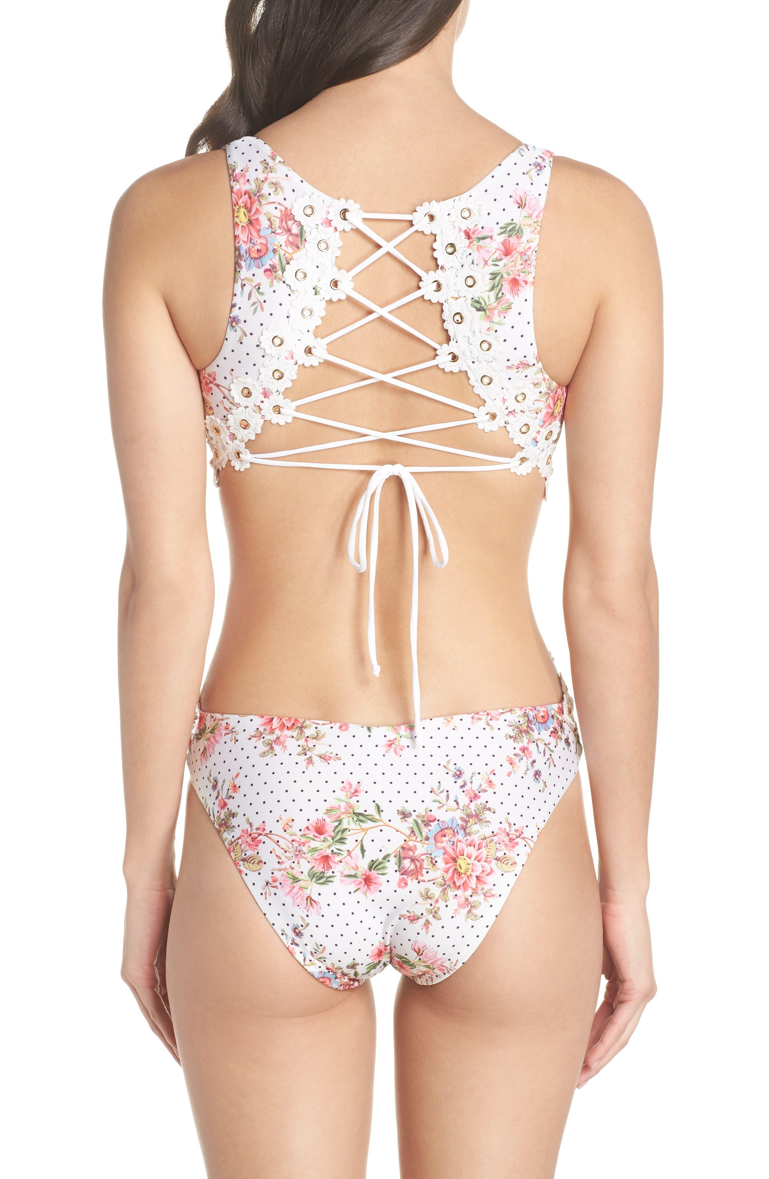 A Bit of Bubbly Cutout One-Piece Swimsuit,                             Alternate thumbnail 2, color,                             White Multi