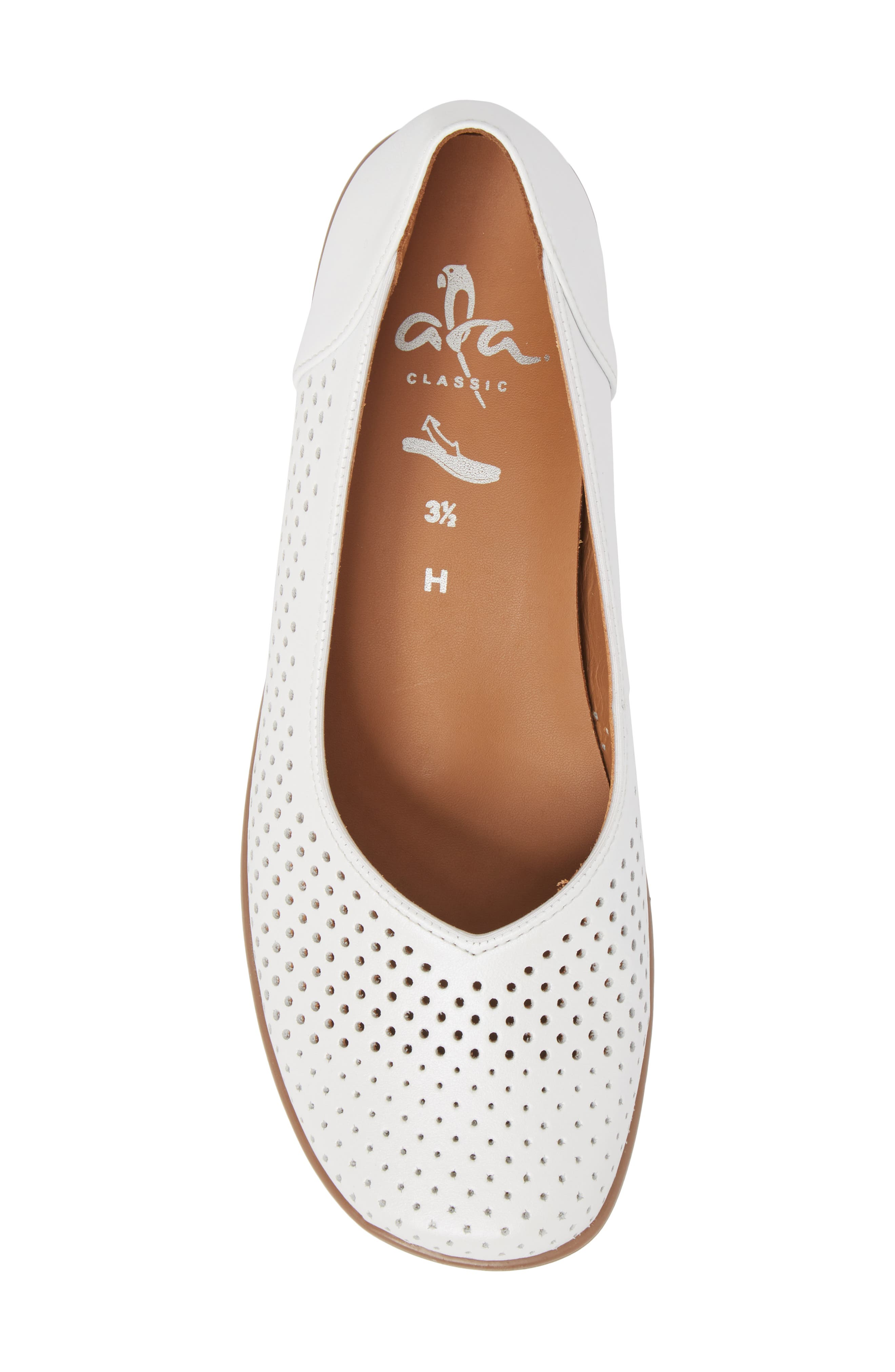 Avril Perforated Flat,                             Alternate thumbnail 5, color,                             White Pearl Leather