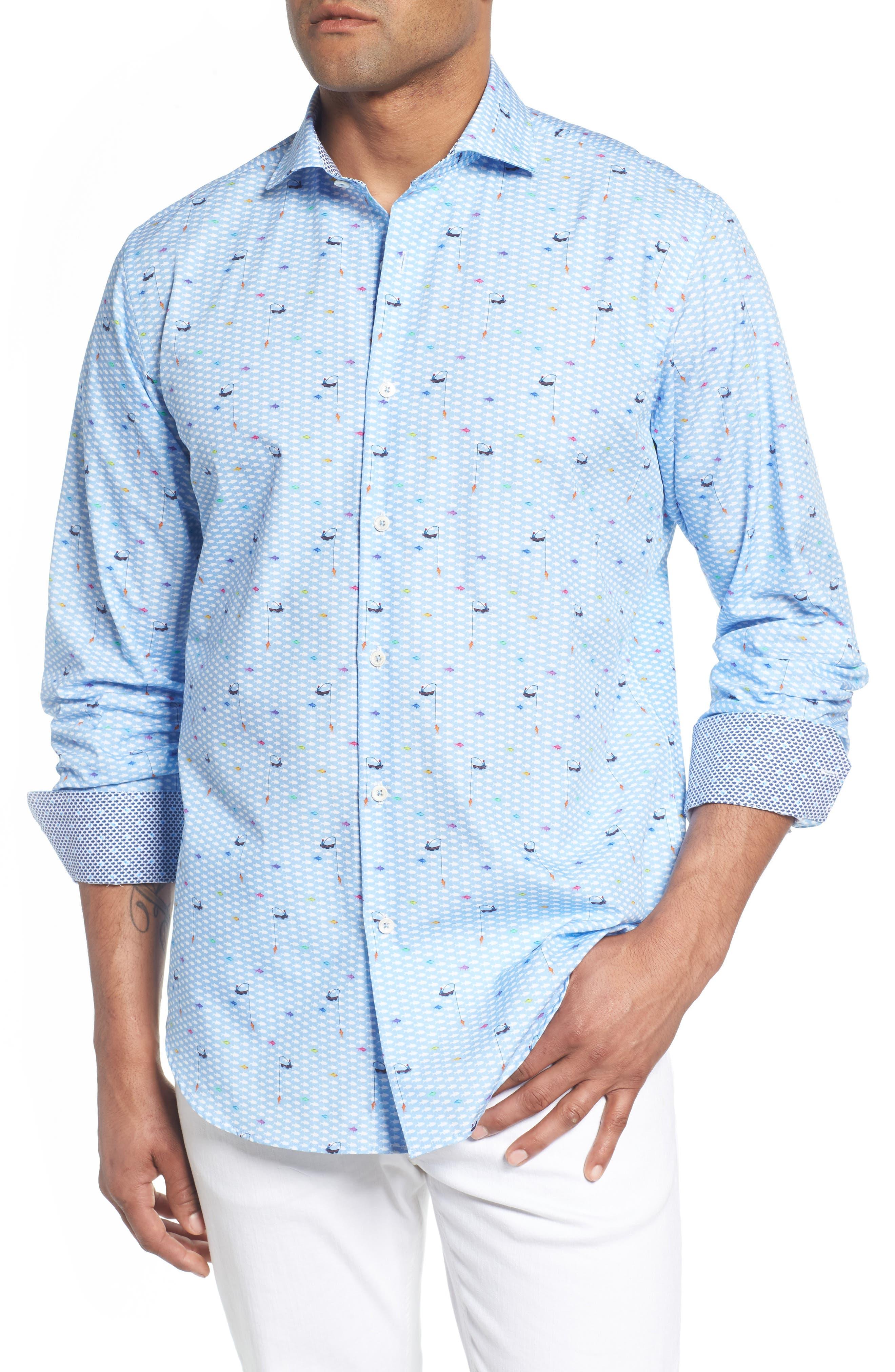 Classic Fit Fisherman Print Sport Shirt,                         Main,                         color, Air Blue