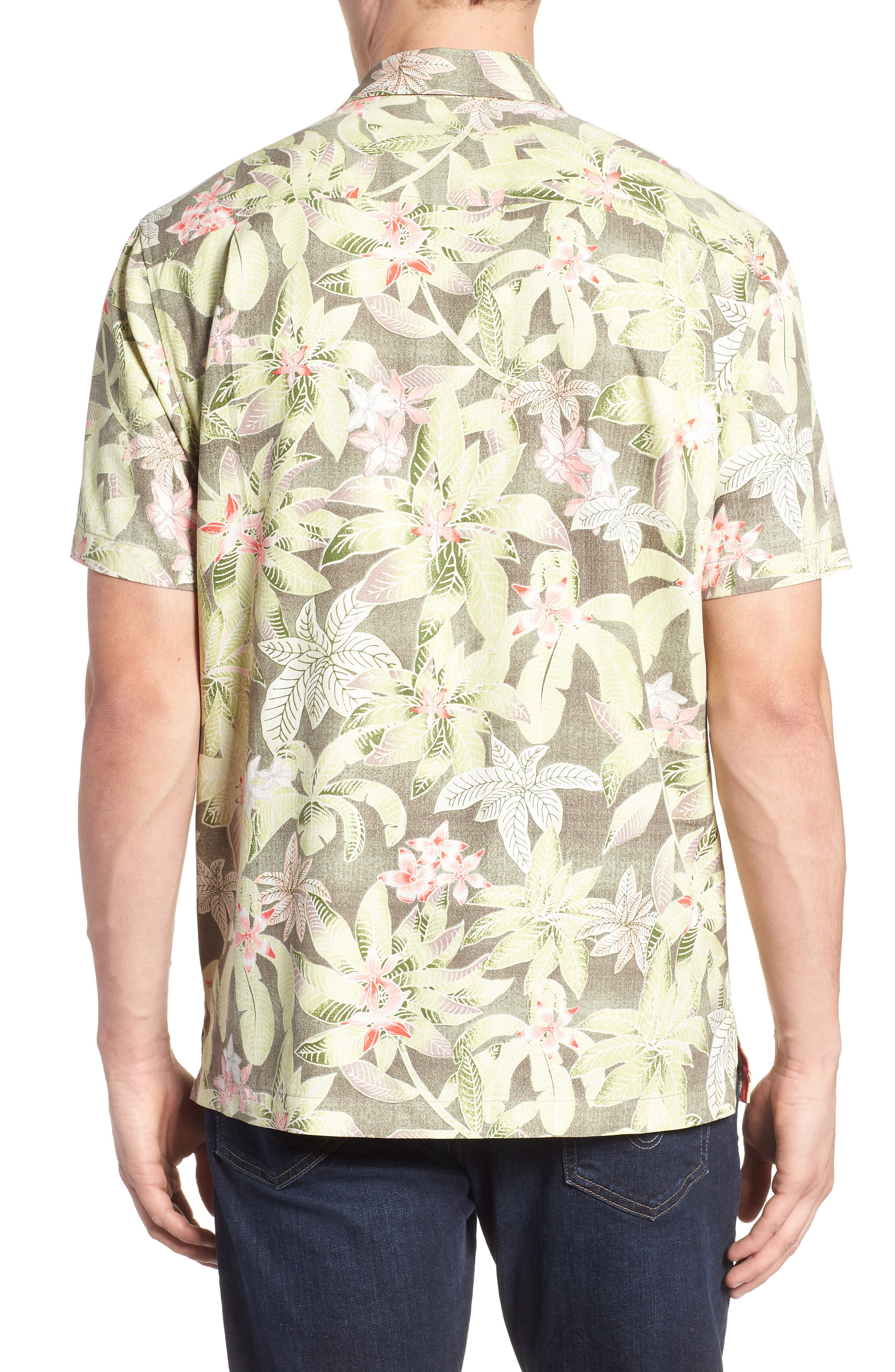 El Medano Jungle Silk Camp Shirt,                             Alternate thumbnail 3, color,                             Dusty Thyme