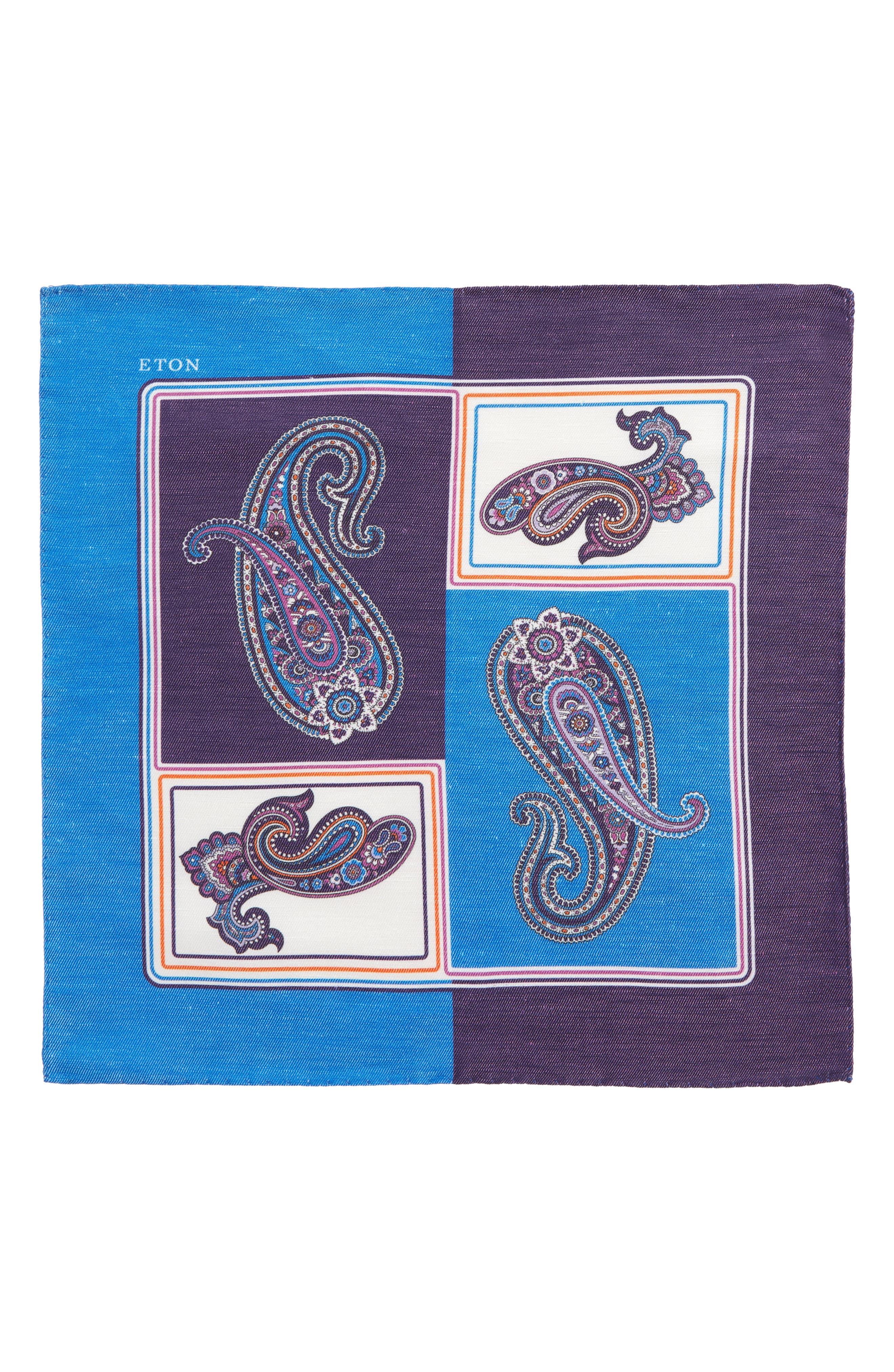Paisley Linen & Silk Pocket Square,                             Alternate thumbnail 2, color,                             Blue