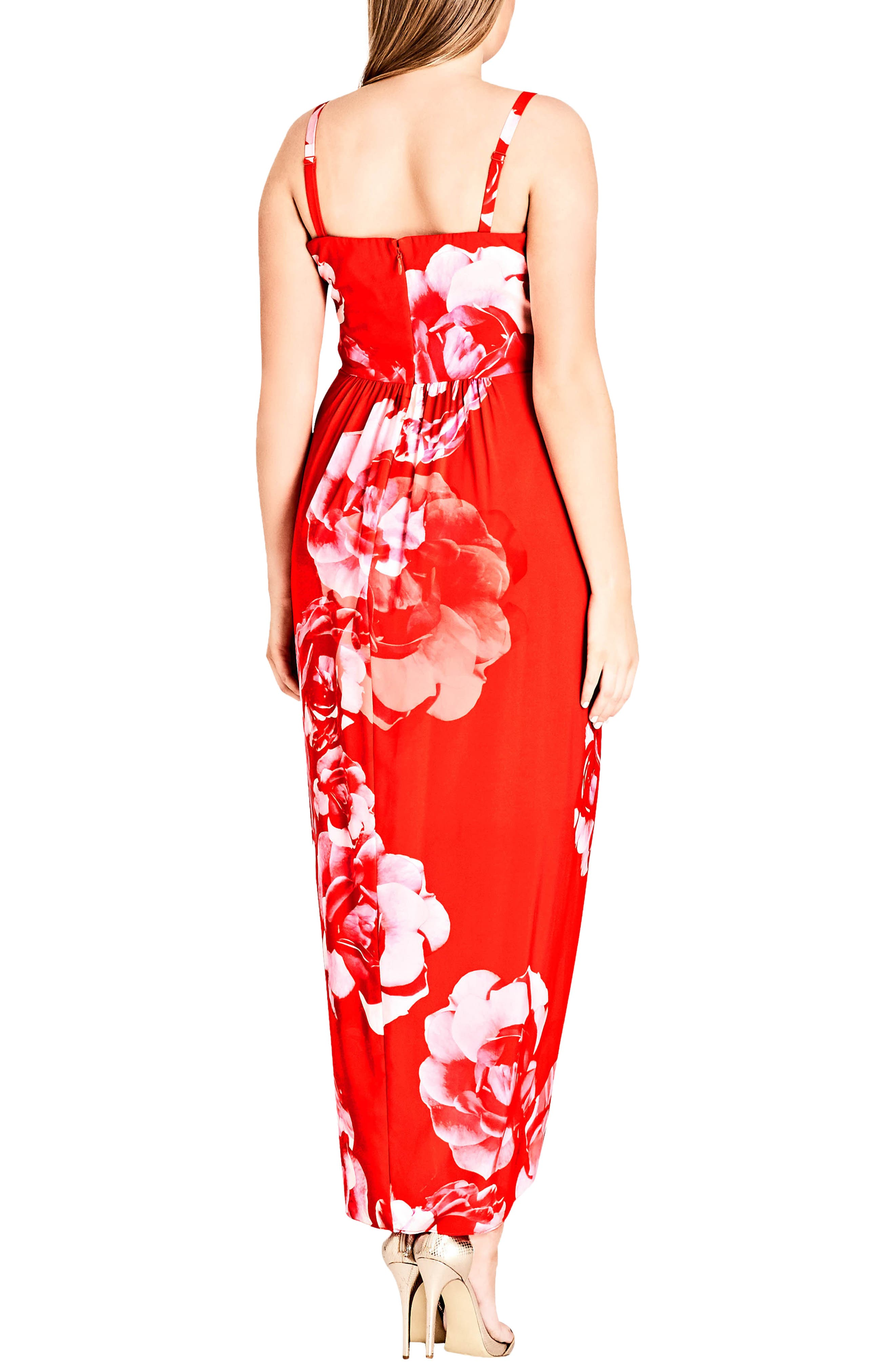Tango Floral Strapless Maxi Dress,                             Alternate thumbnail 2, color,                             Tango Floral