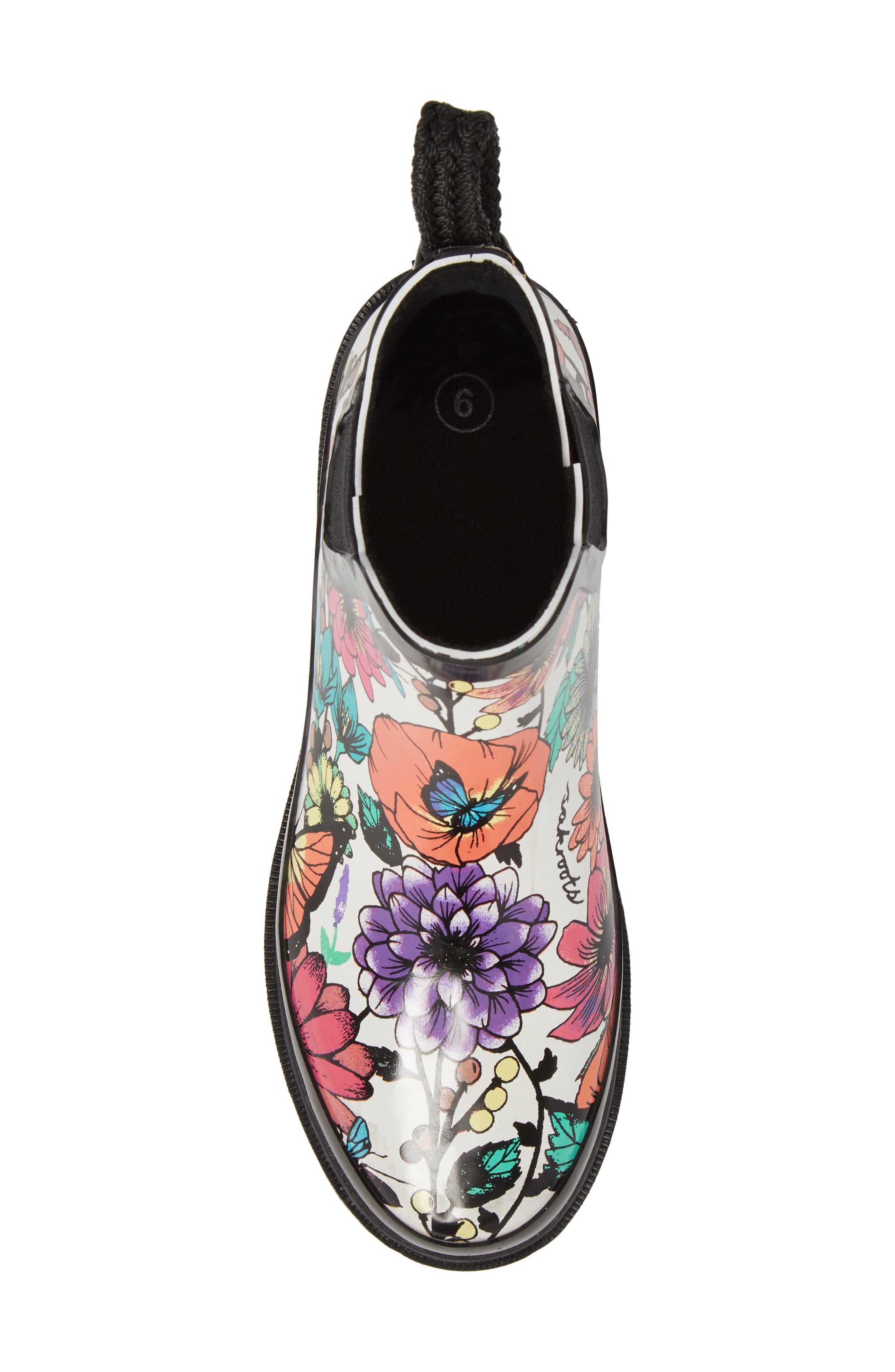 'Rhyme' Waterproof Rain Boot,                             Alternate thumbnail 5, color,                             Optic In Bloom