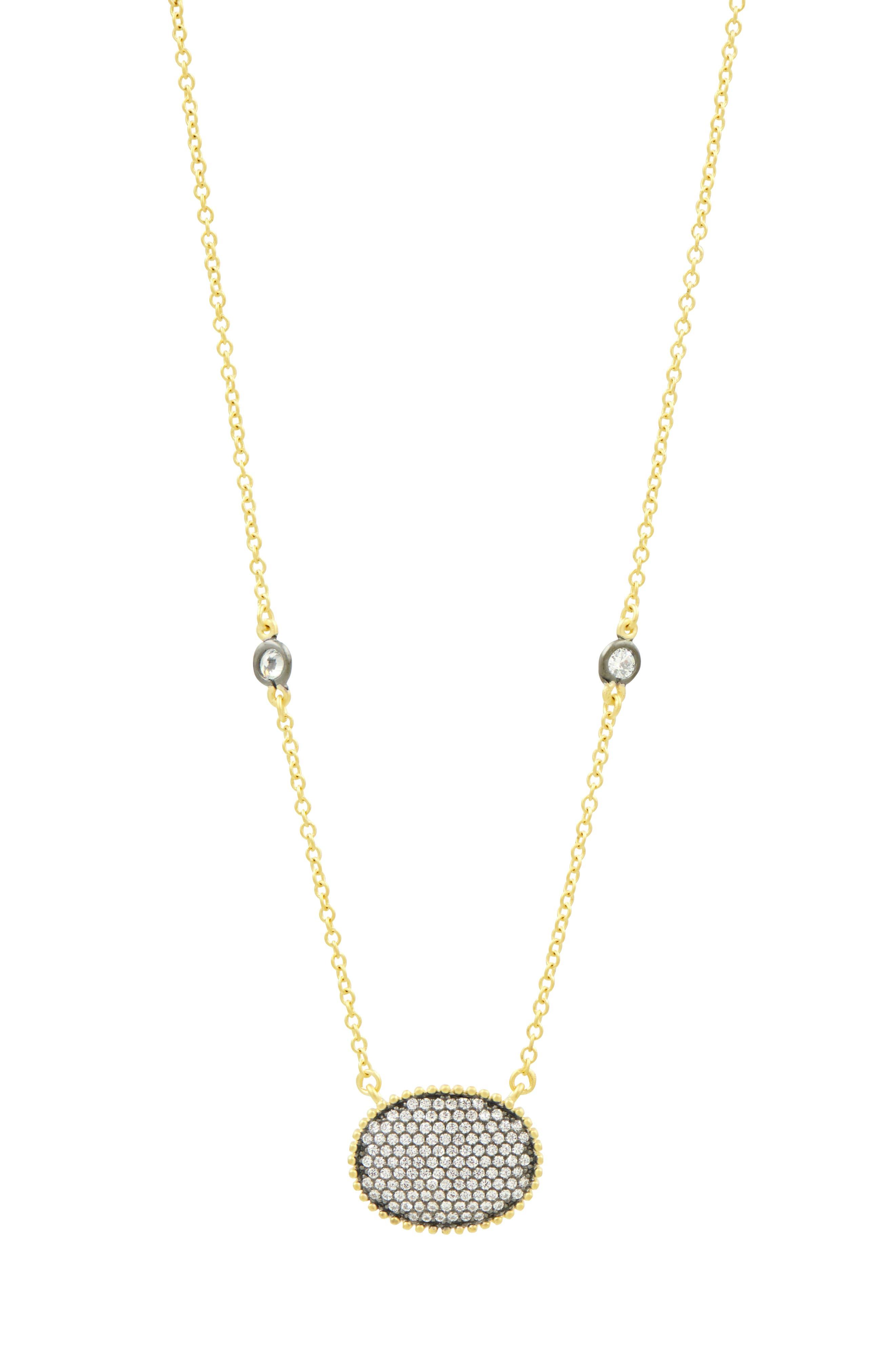 Oval Pendant Necklace,                             Alternate thumbnail 2, color,                             Gold/ Black Rhodium