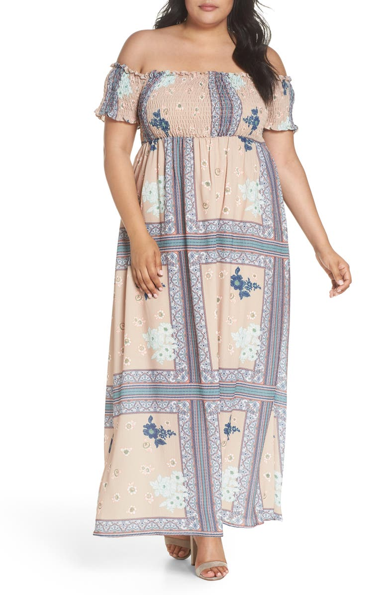 Patchwork Print Off the Shoulder Maxi Dress
