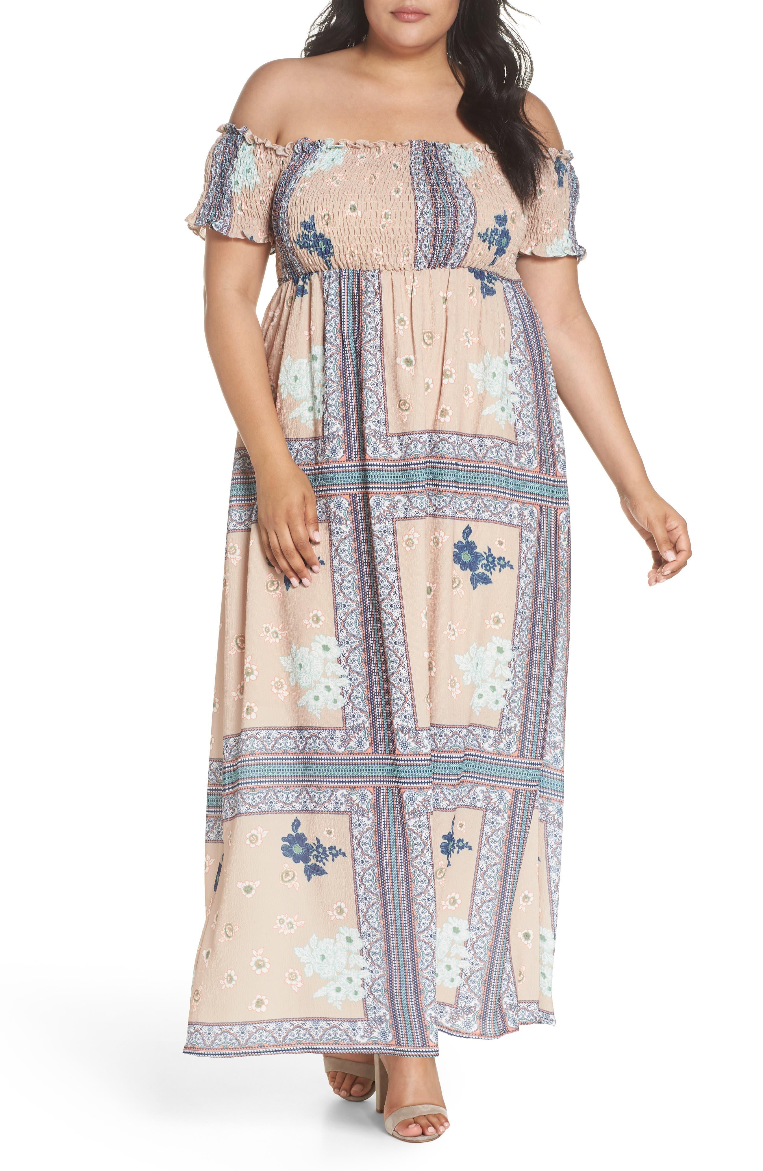 Glamorous Patchwork Print Off the Shoulder Maxi Dress (Plus Size)