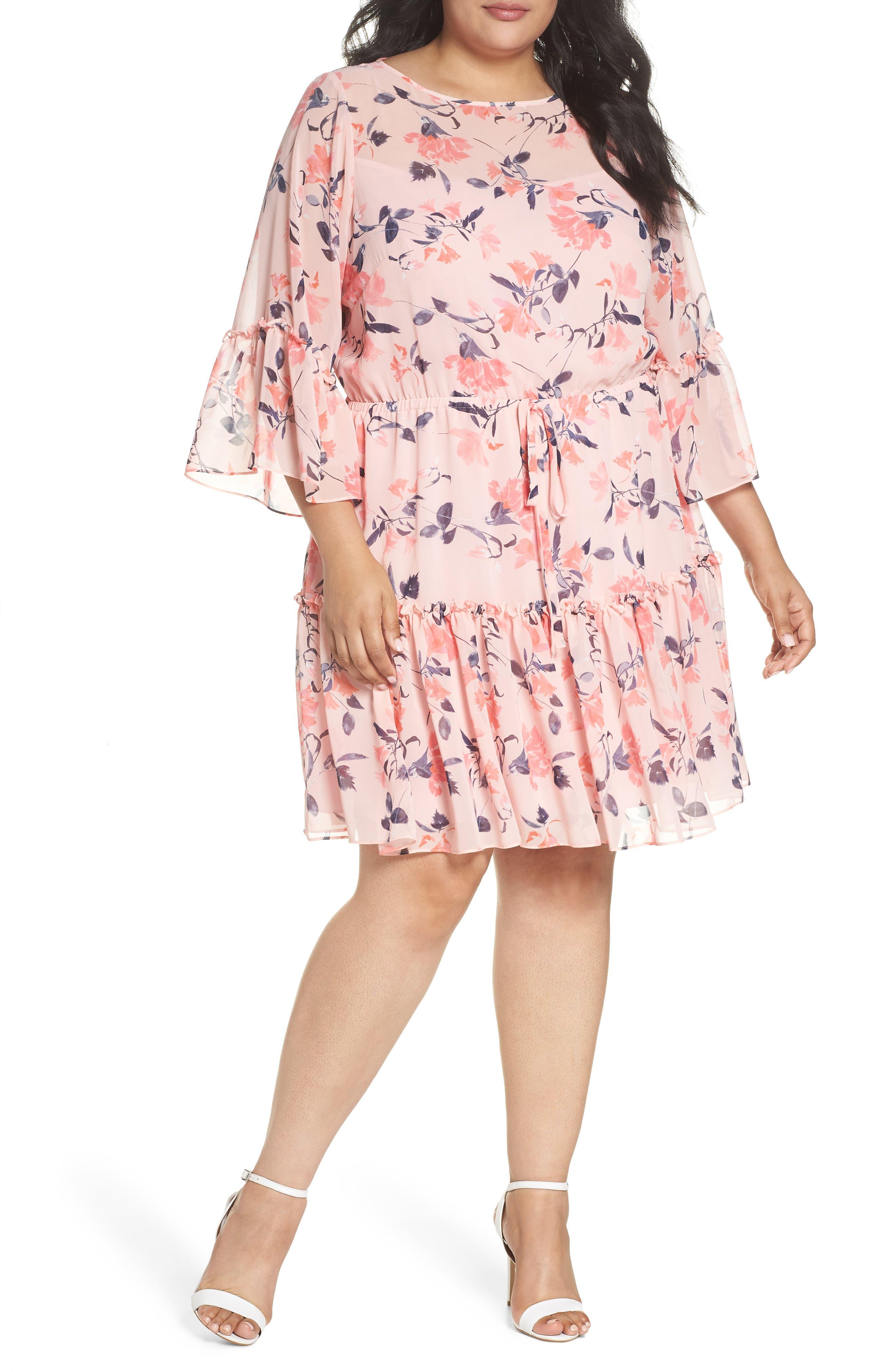 Elza J Floral Bell Sleeve Chiffon Dress,                         Main,                         color, Blush