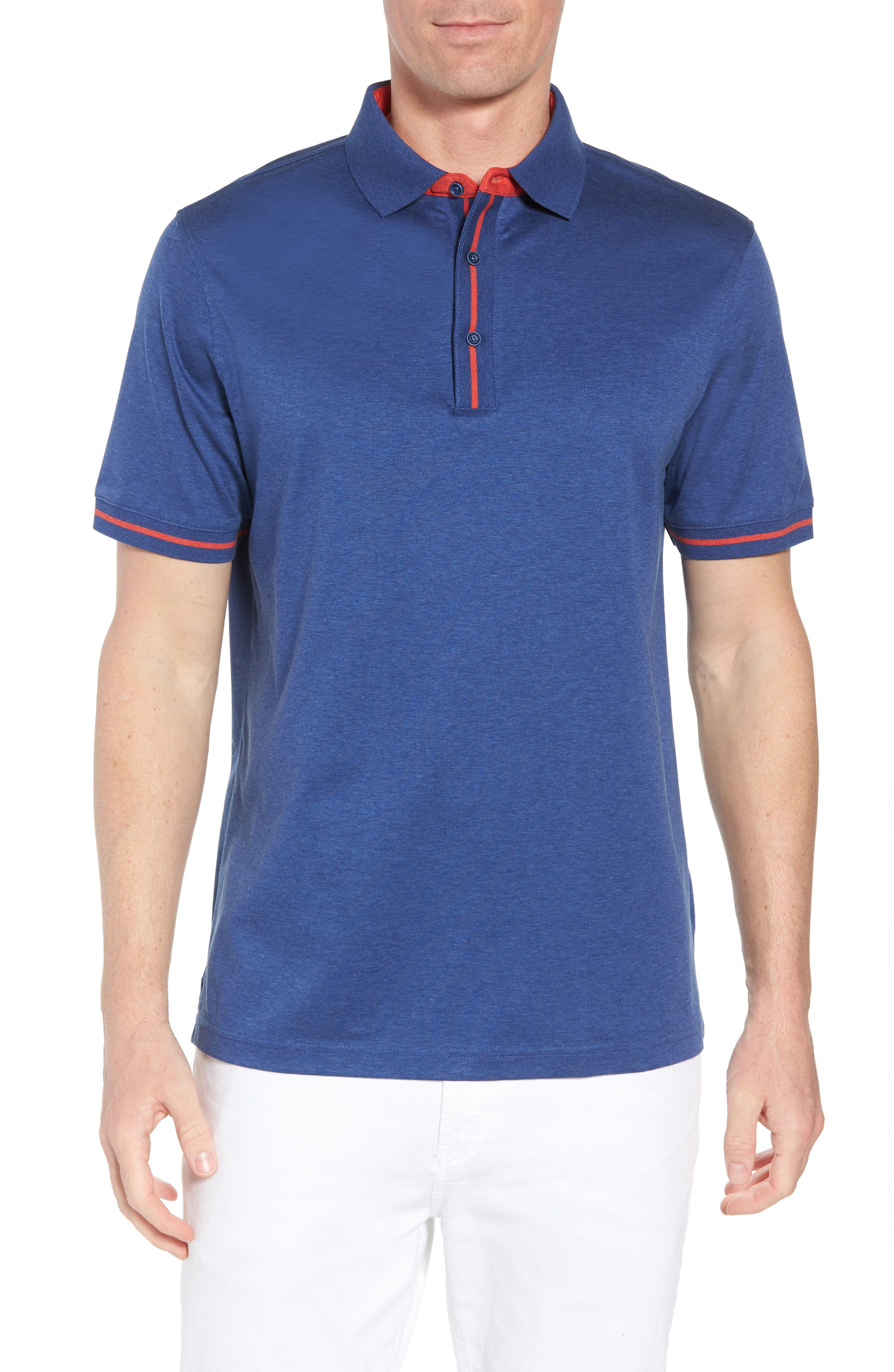 Knit Polo,                         Main,                         color, Night Blue