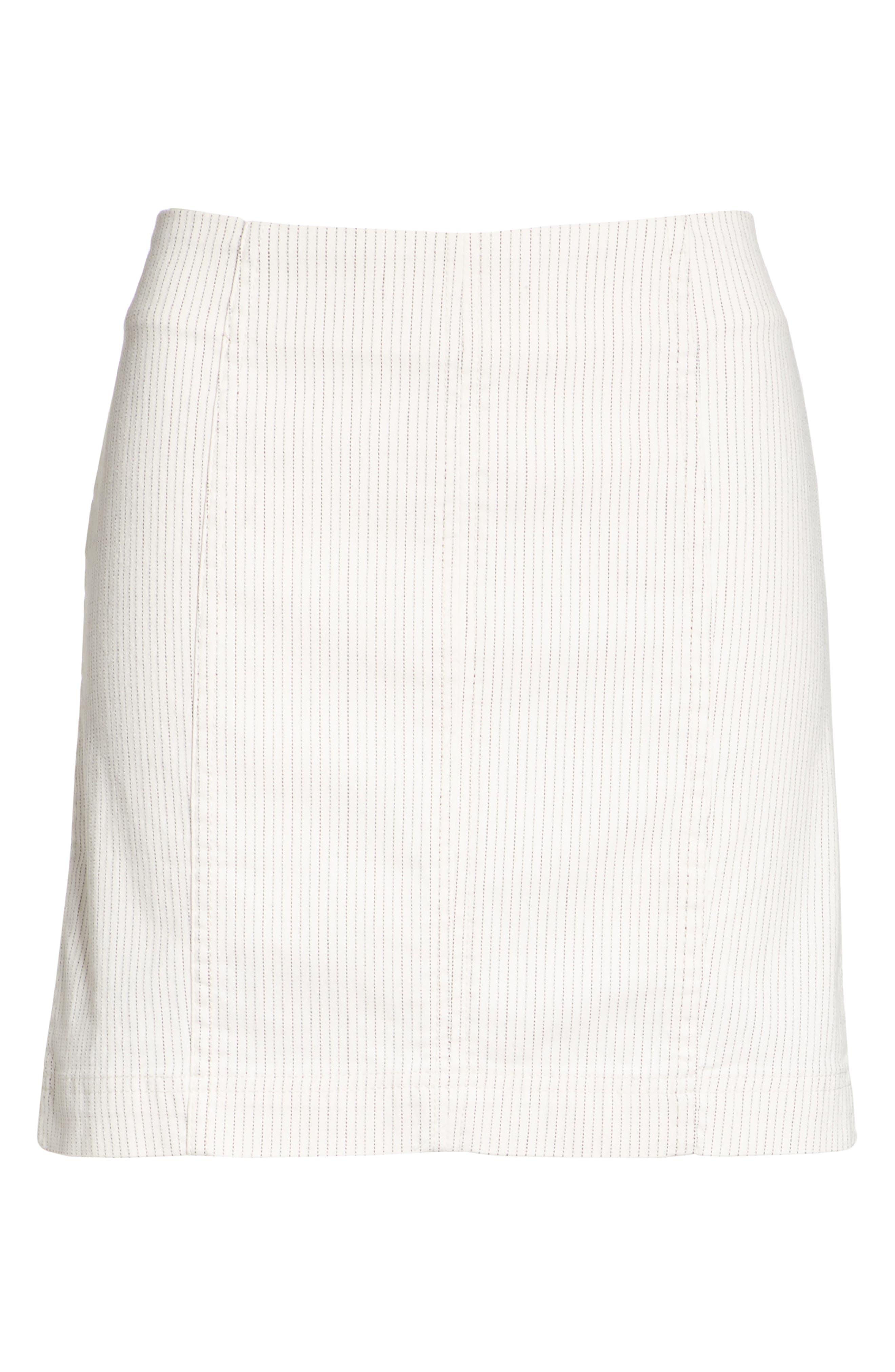 Modern Femme Pinstripe Skirt,                             Alternate thumbnail 6, color,                             Black And White Combo