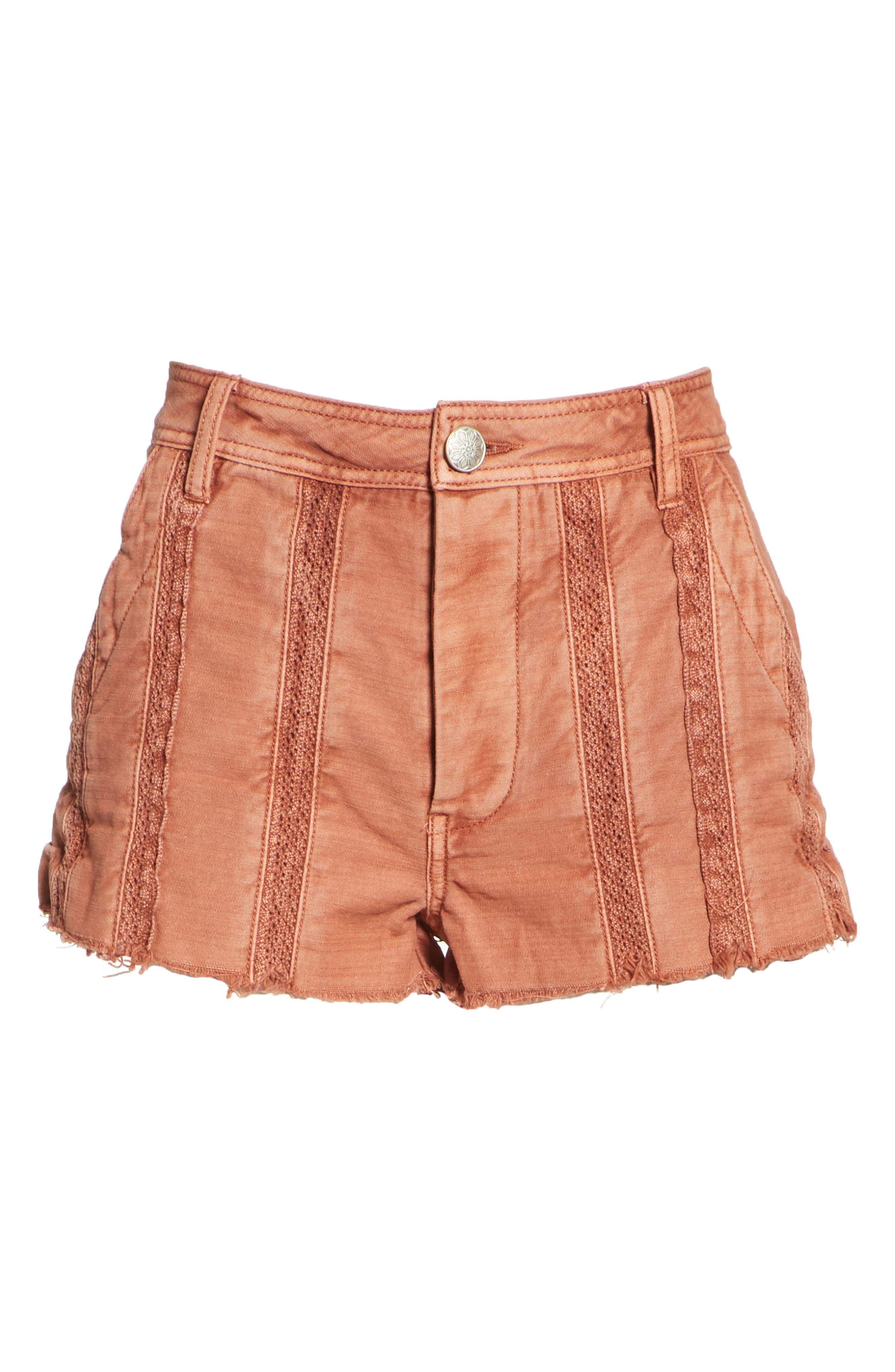 Great Expectations Lace Cutout Shorts,                             Alternate thumbnail 6, color,                             Peach