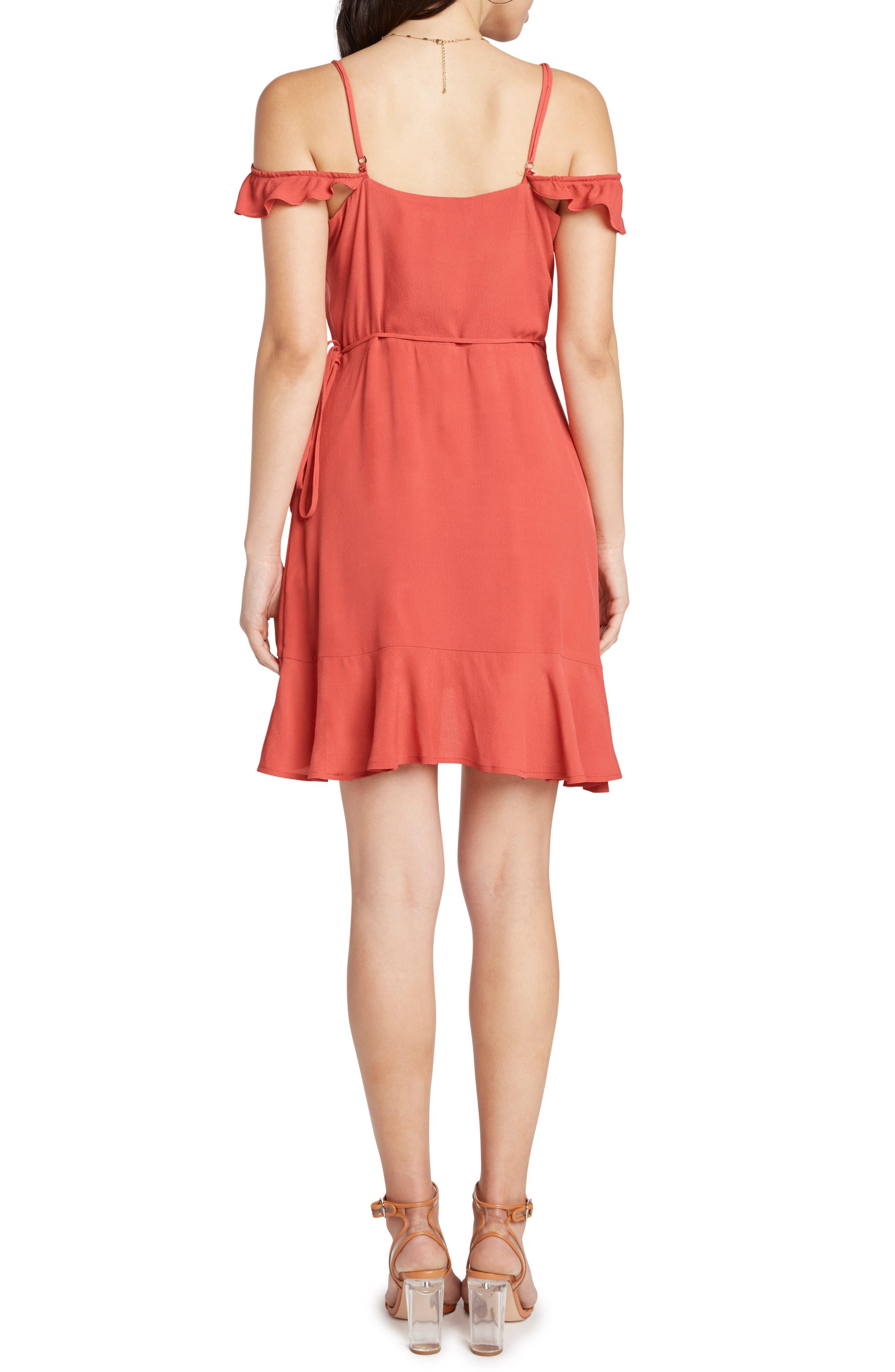 Cold Shoulder Wrap Dress,                             Alternate thumbnail 2, color,                             Coral