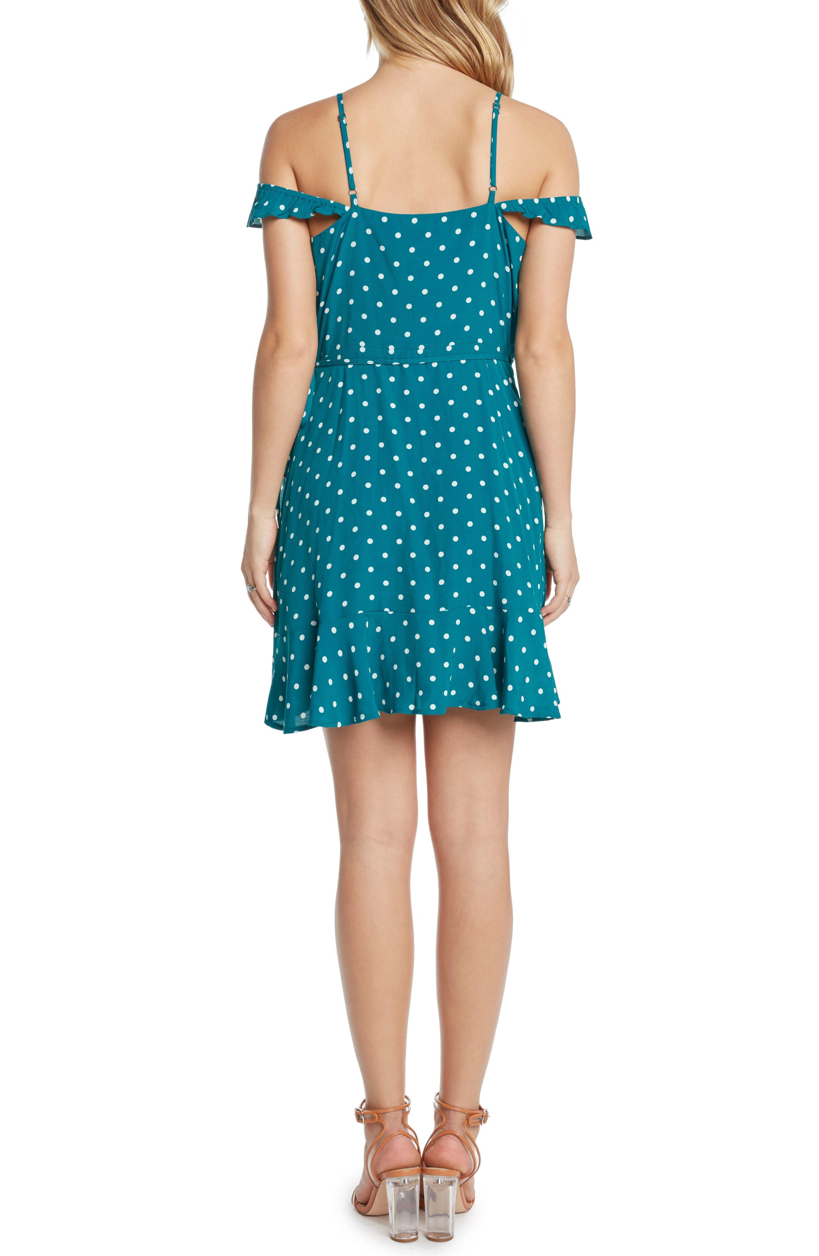 Polka Dot Cold Shoulder Wrap Dress,                             Alternate thumbnail 2, color,                             Teal