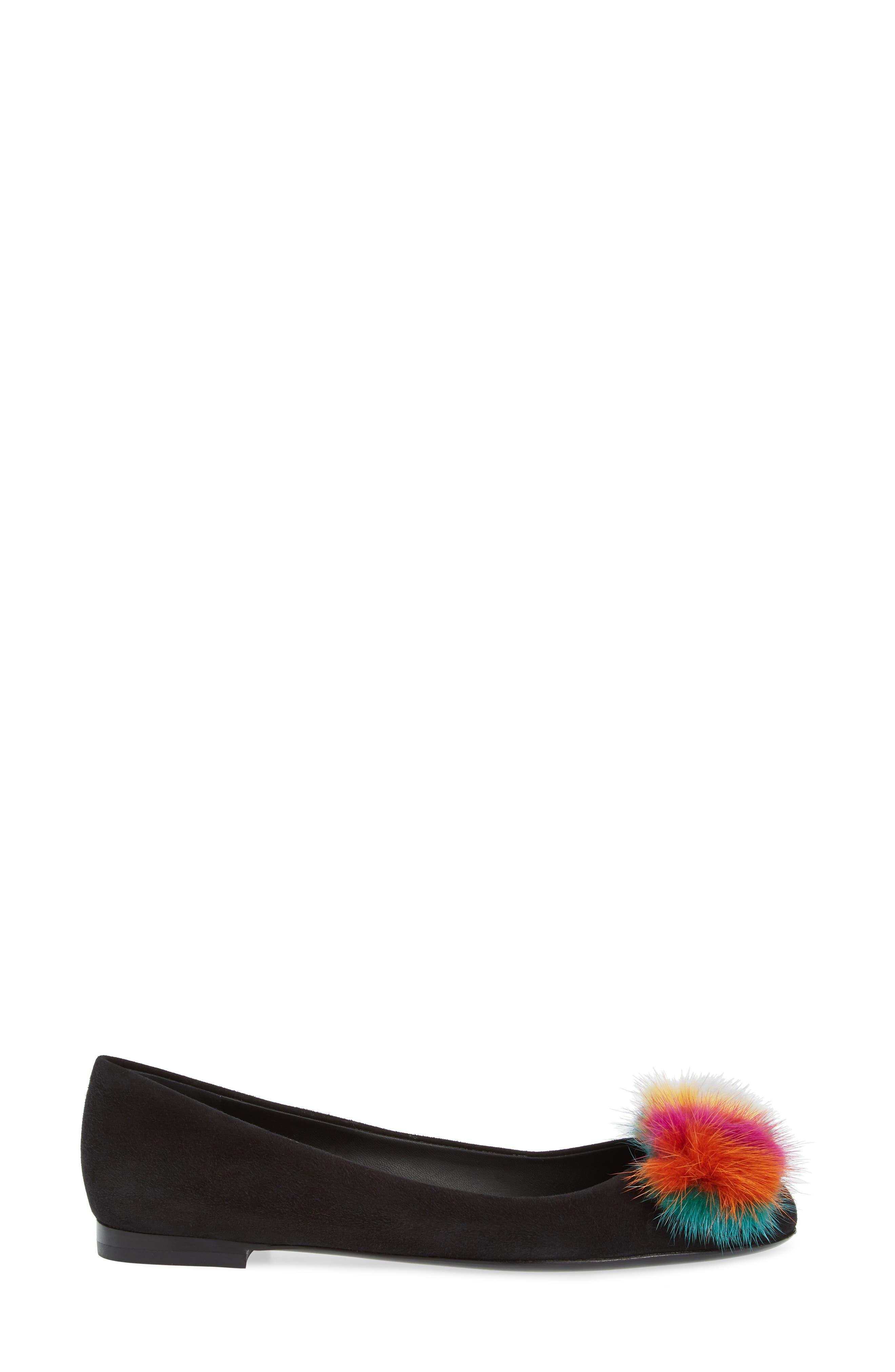 Varina Genuine Mink Fur Flat,                             Alternate thumbnail 3, color,                             Black/ Rainbow