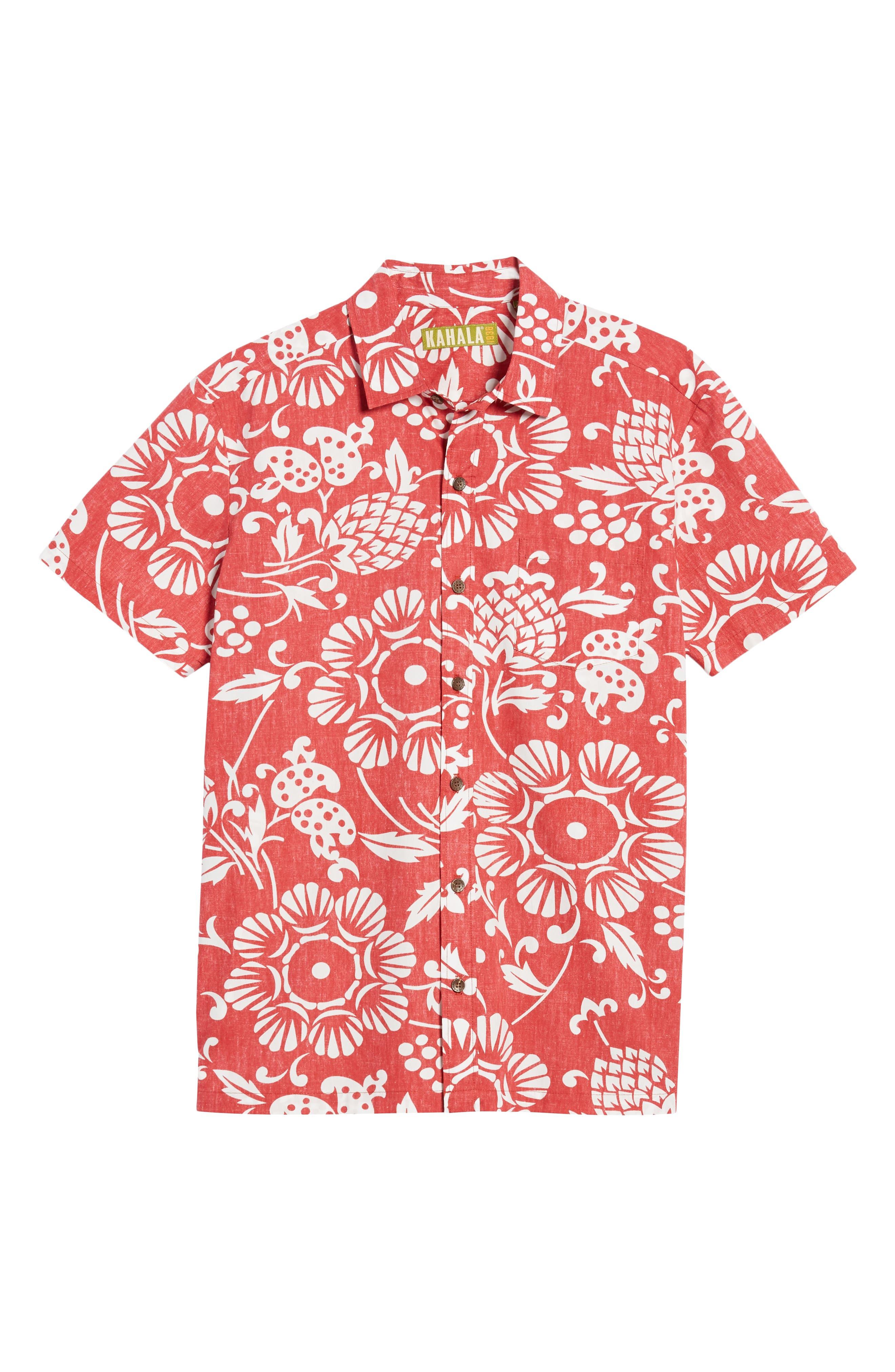 Duke's Pareo Trim Fit Sport Shirt,                             Alternate thumbnail 5, color,                             Surfer Red