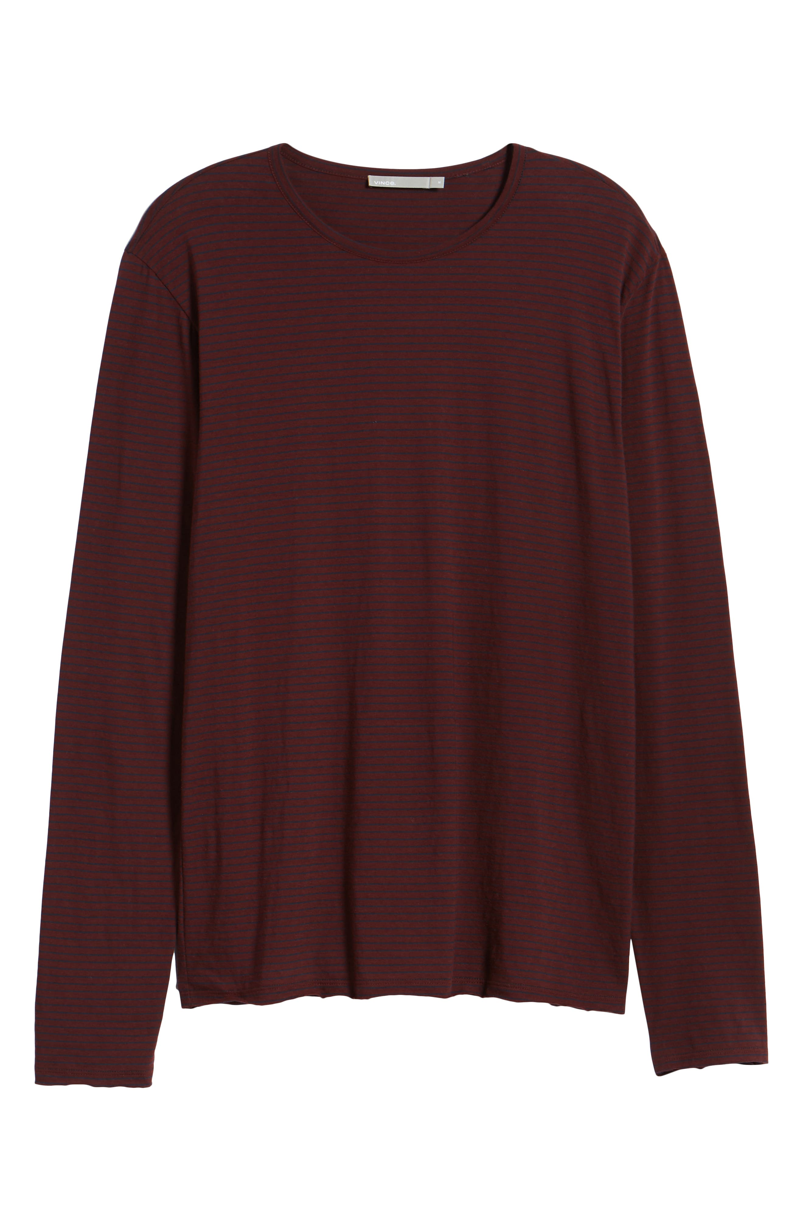 Stripe Long Sleeve Crewneck T-Shirt,                             Alternate thumbnail 6, color,                             Black Cherry/ New Coastal