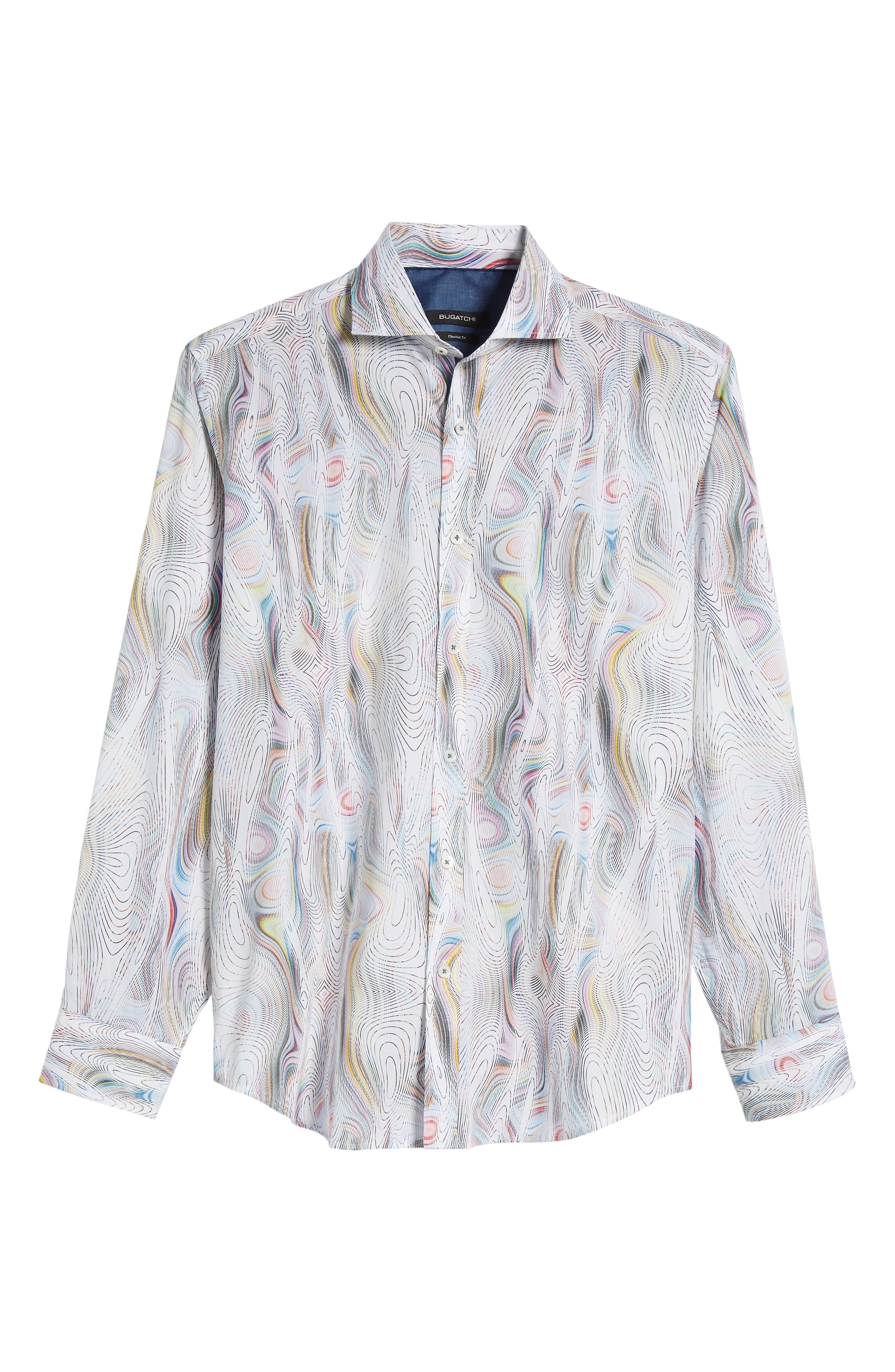 Classic Fit Abstract Print Sport Shirt,                             Alternate thumbnail 6, color,                             Candy
