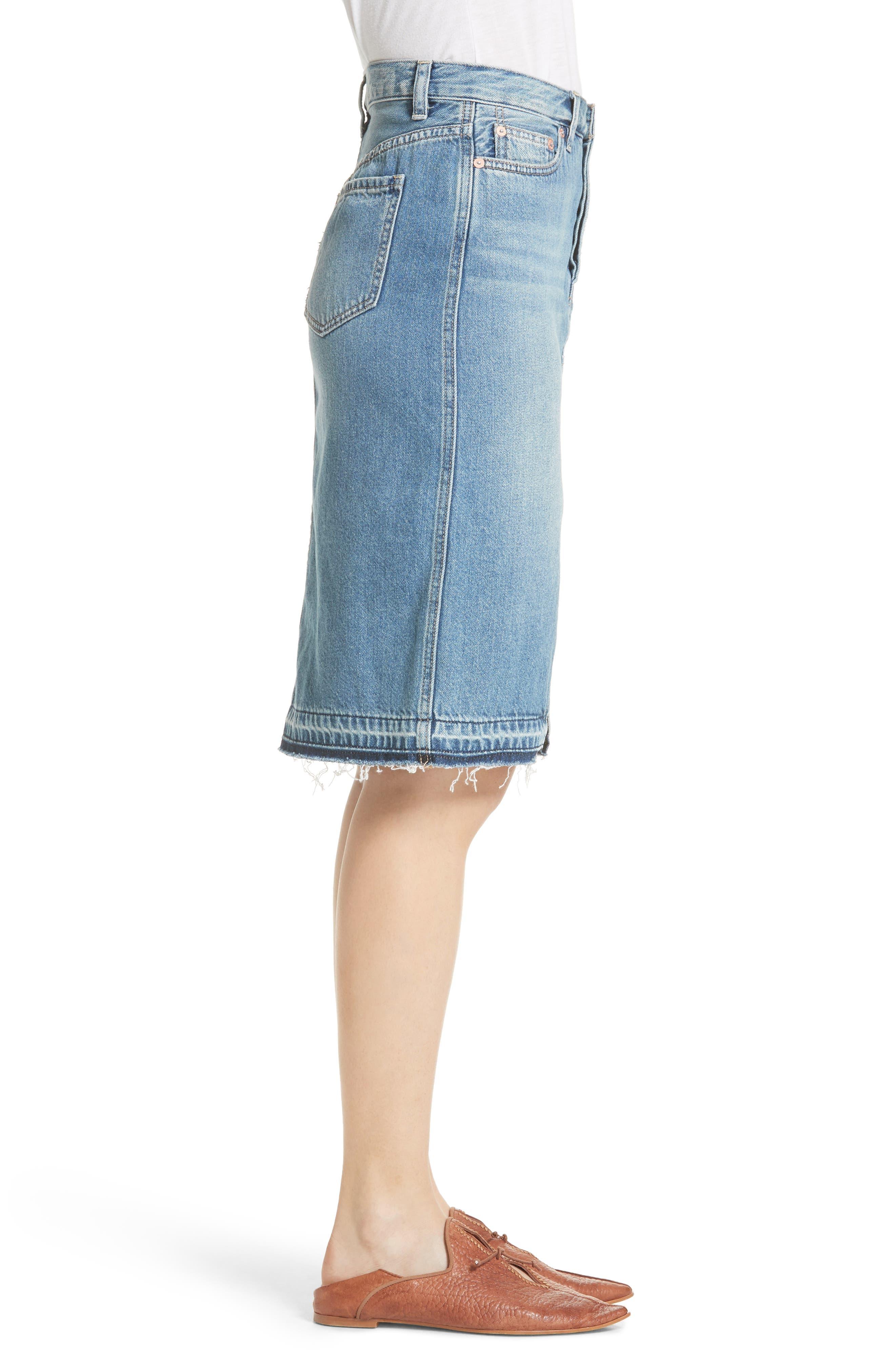 Front Slit Denim Skirt,                             Alternate thumbnail 3, color,                             Blue