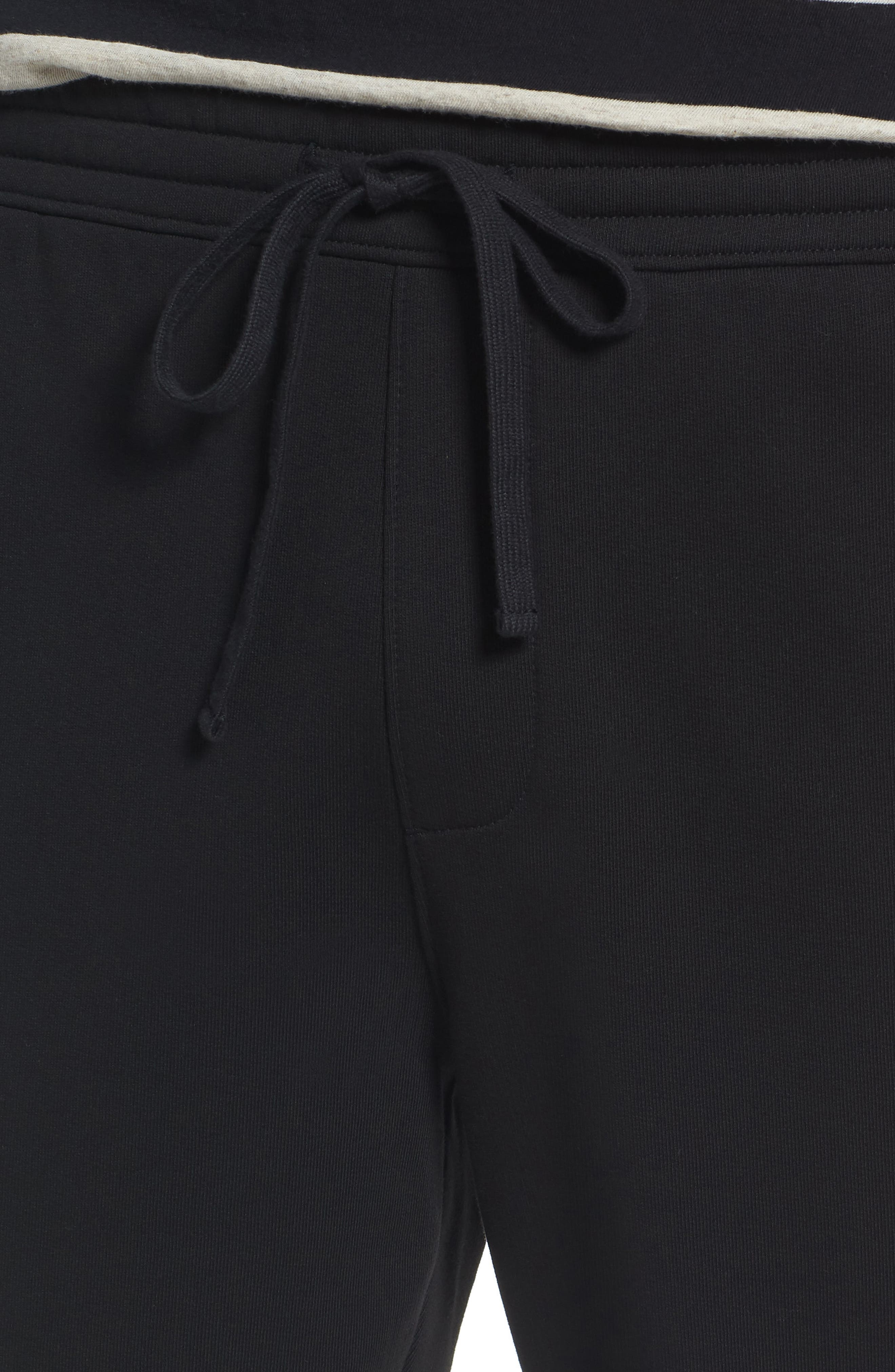 Mix Media Regular Fit Cotton Sweatpants,                             Alternate thumbnail 4, color,                             Black