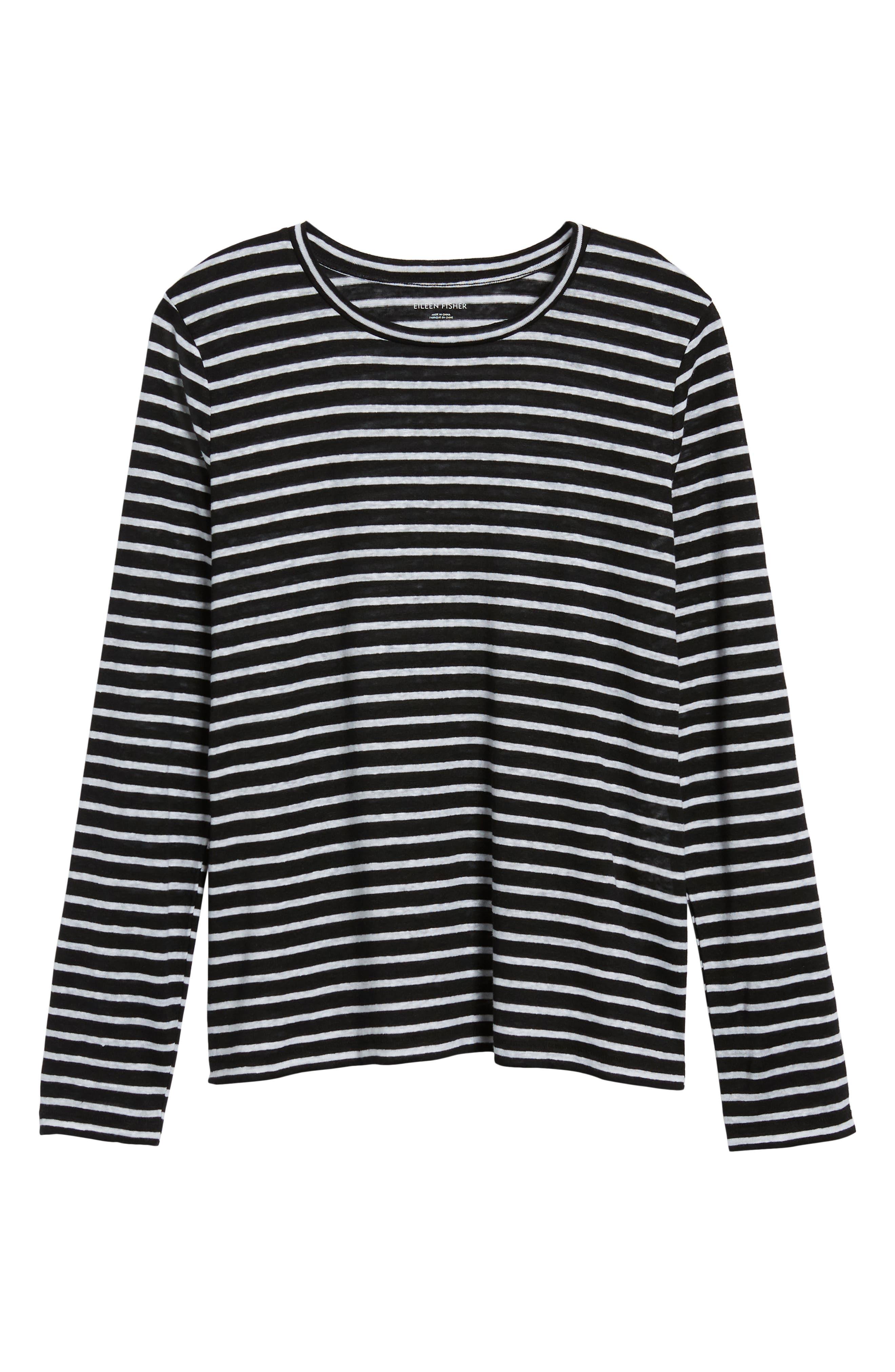 Stripe Organic Linen Top,                             Alternate thumbnail 7, color,                             Black/ White