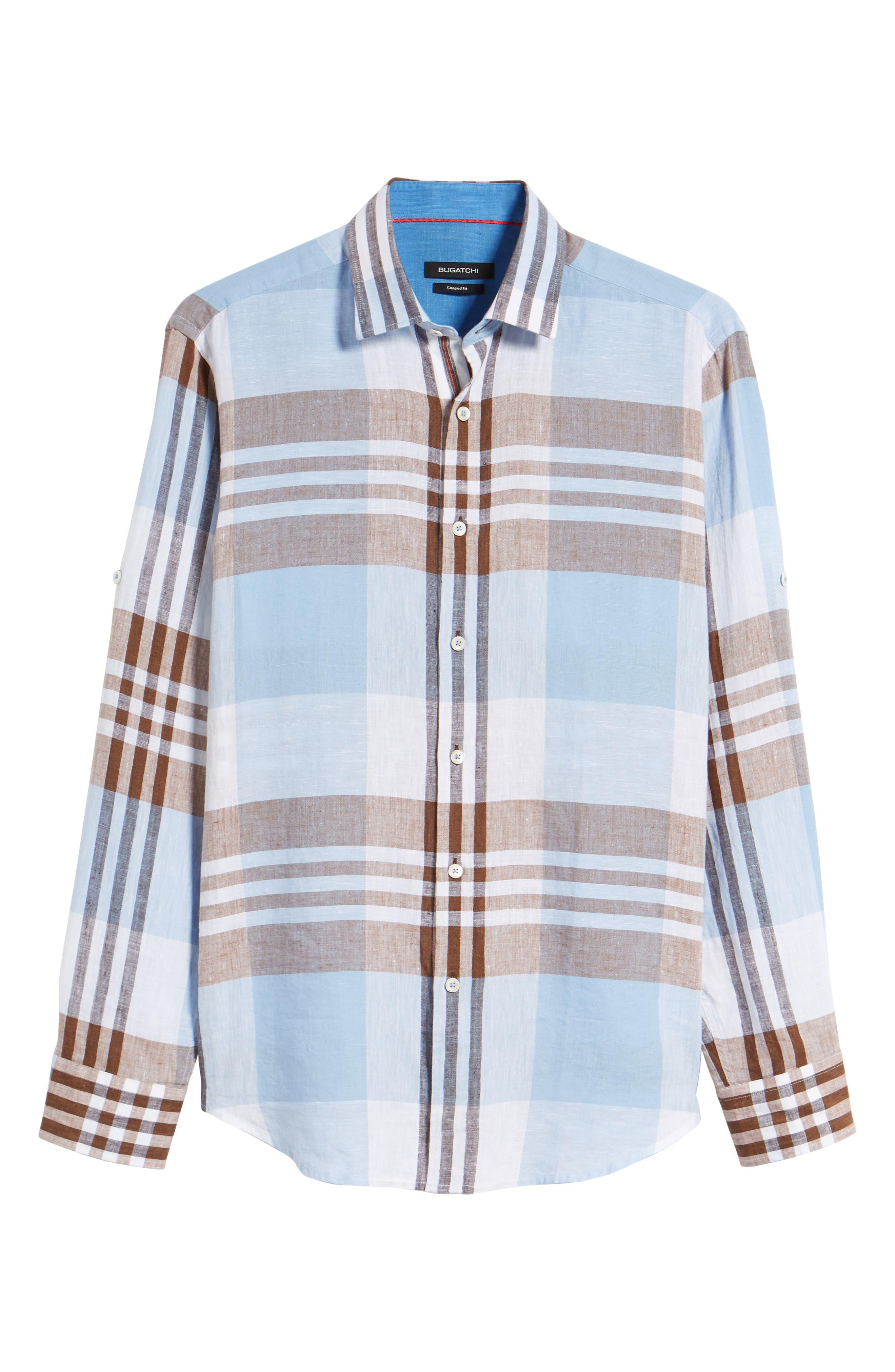 Shaped Fit Plaid Linen Blend Sport Shirt,                             Alternate thumbnail 6, color,                             Mocha