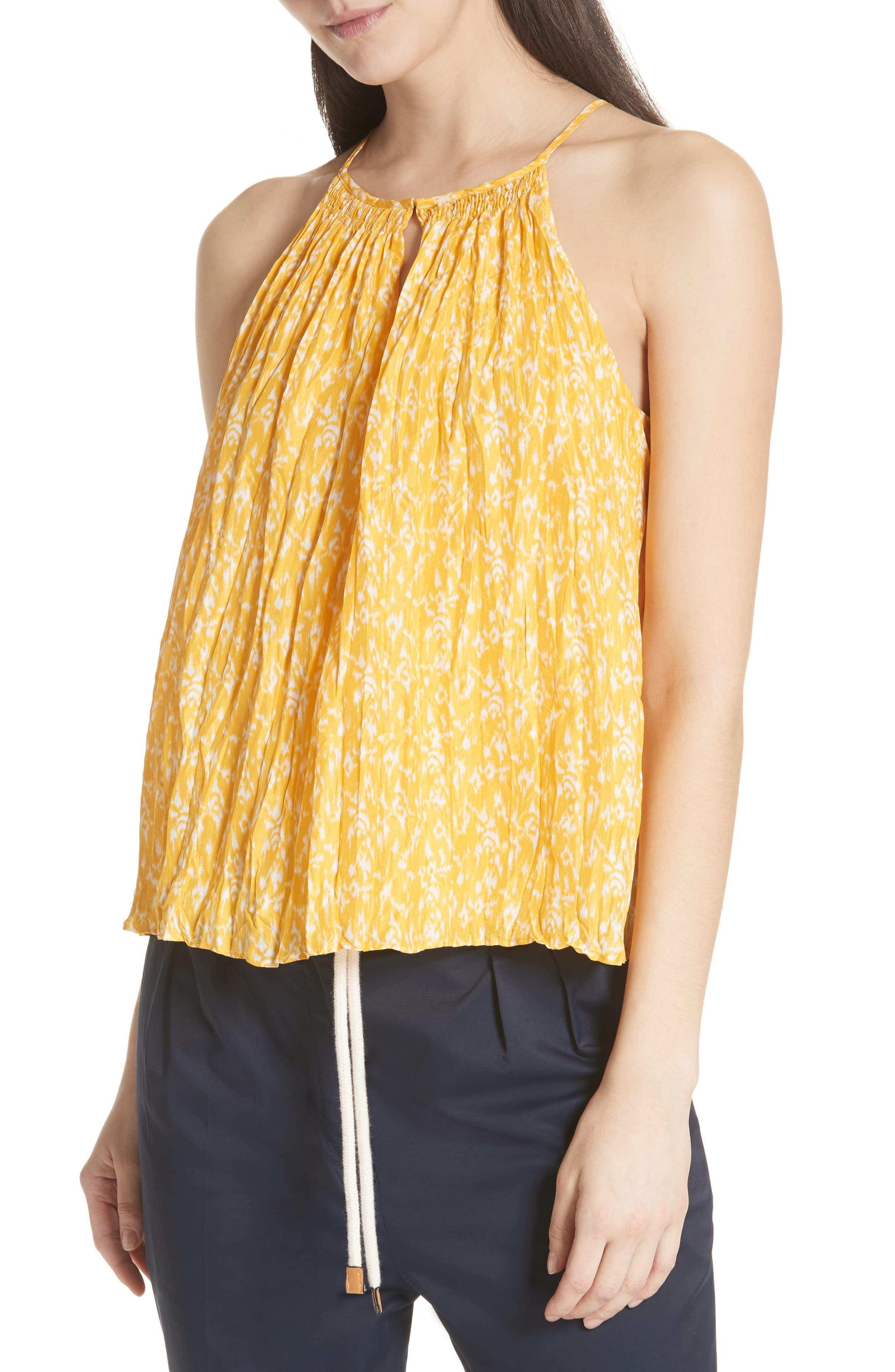 Hirota Crinkled Silk Keyhole Blouse,                         Main,                         color, Corn Silk