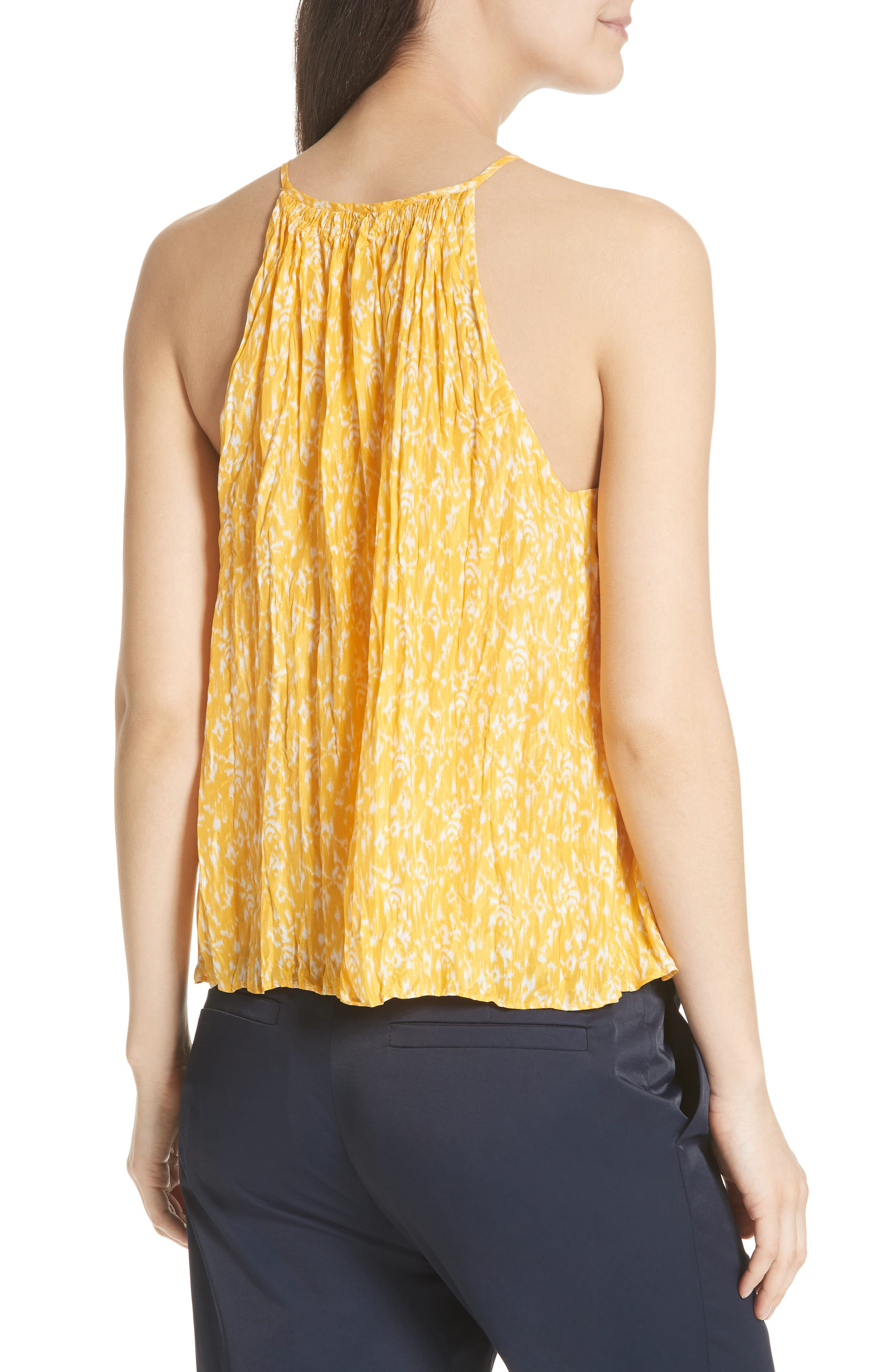 Hirota Crinkled Silk Keyhole Blouse,                             Alternate thumbnail 2, color,                             Corn Silk