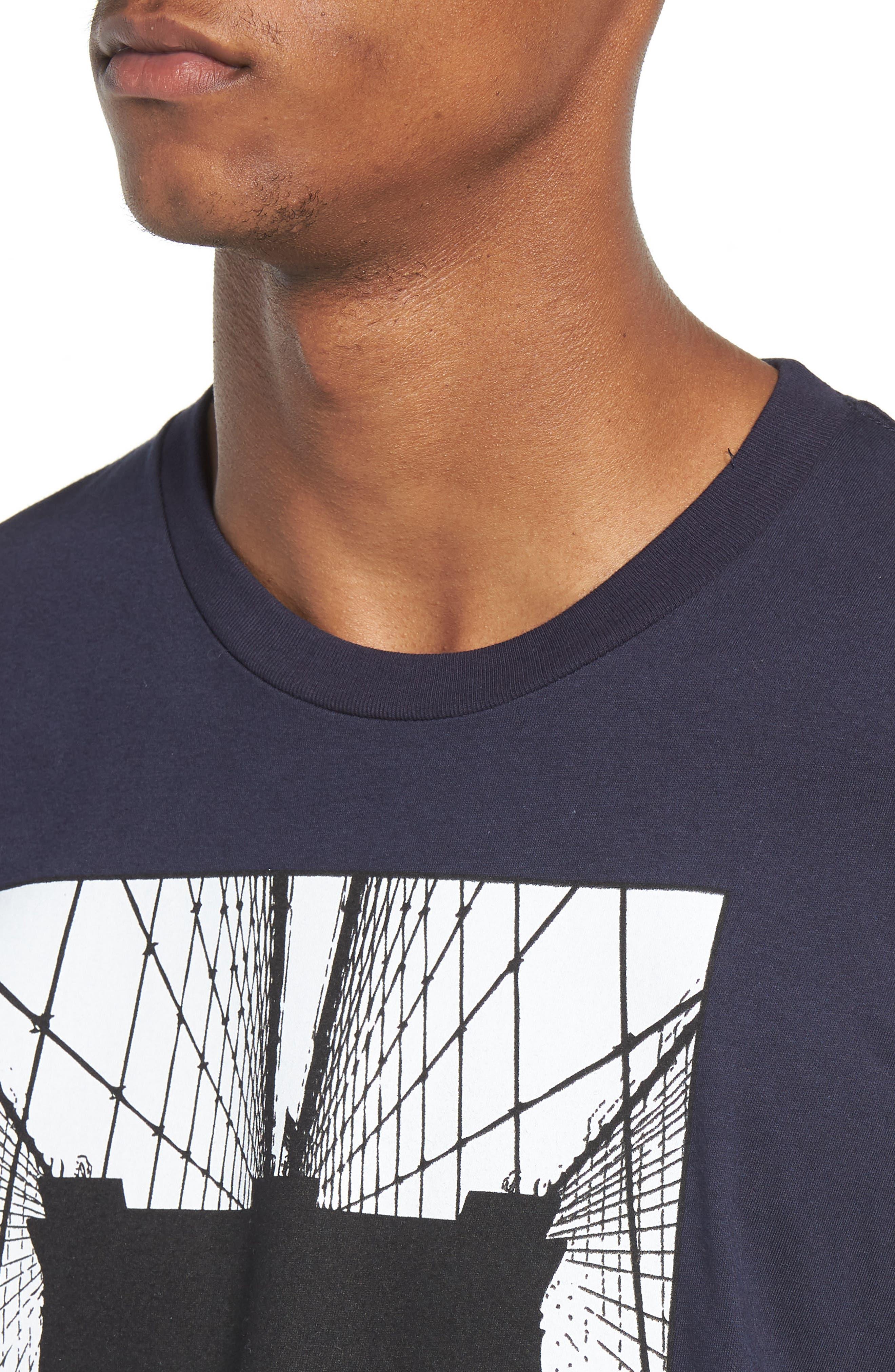 Brooklyn Bridge Graphic T-Shirt,                             Alternate thumbnail 4, color,                             Navy