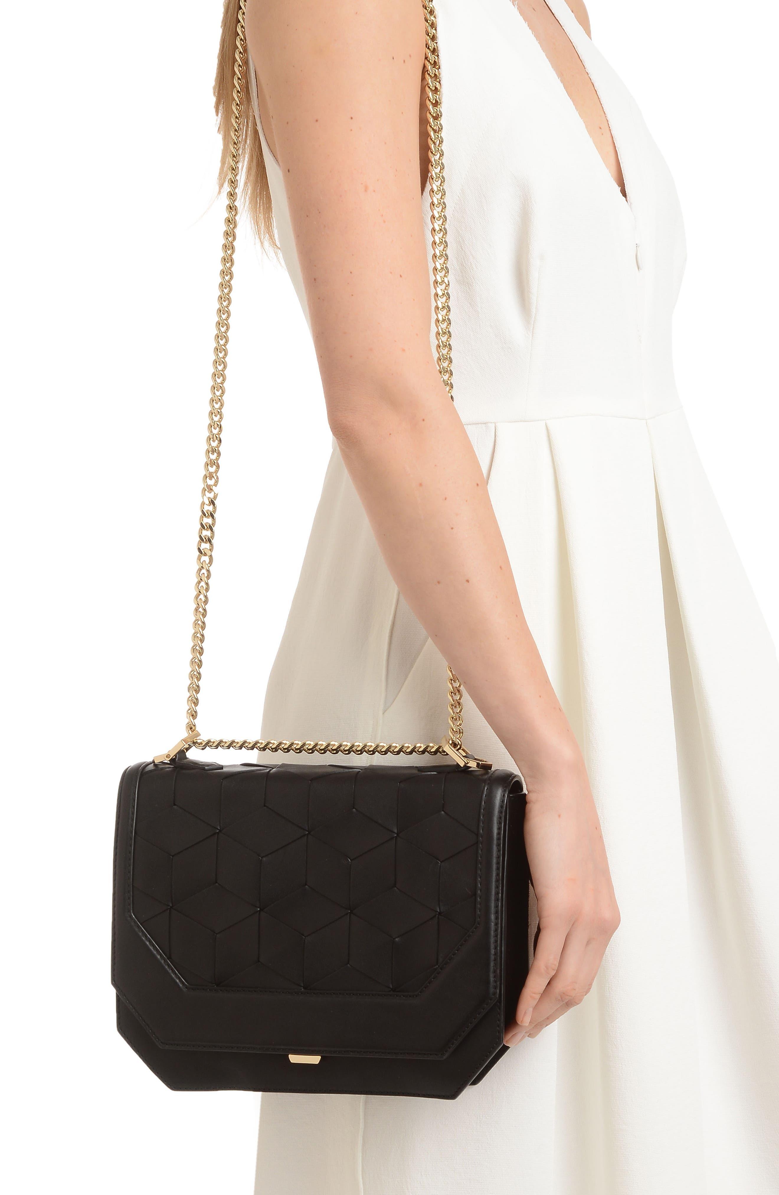 Supine Leather Shoulder Bag,                             Alternate thumbnail 3, color,                             Black