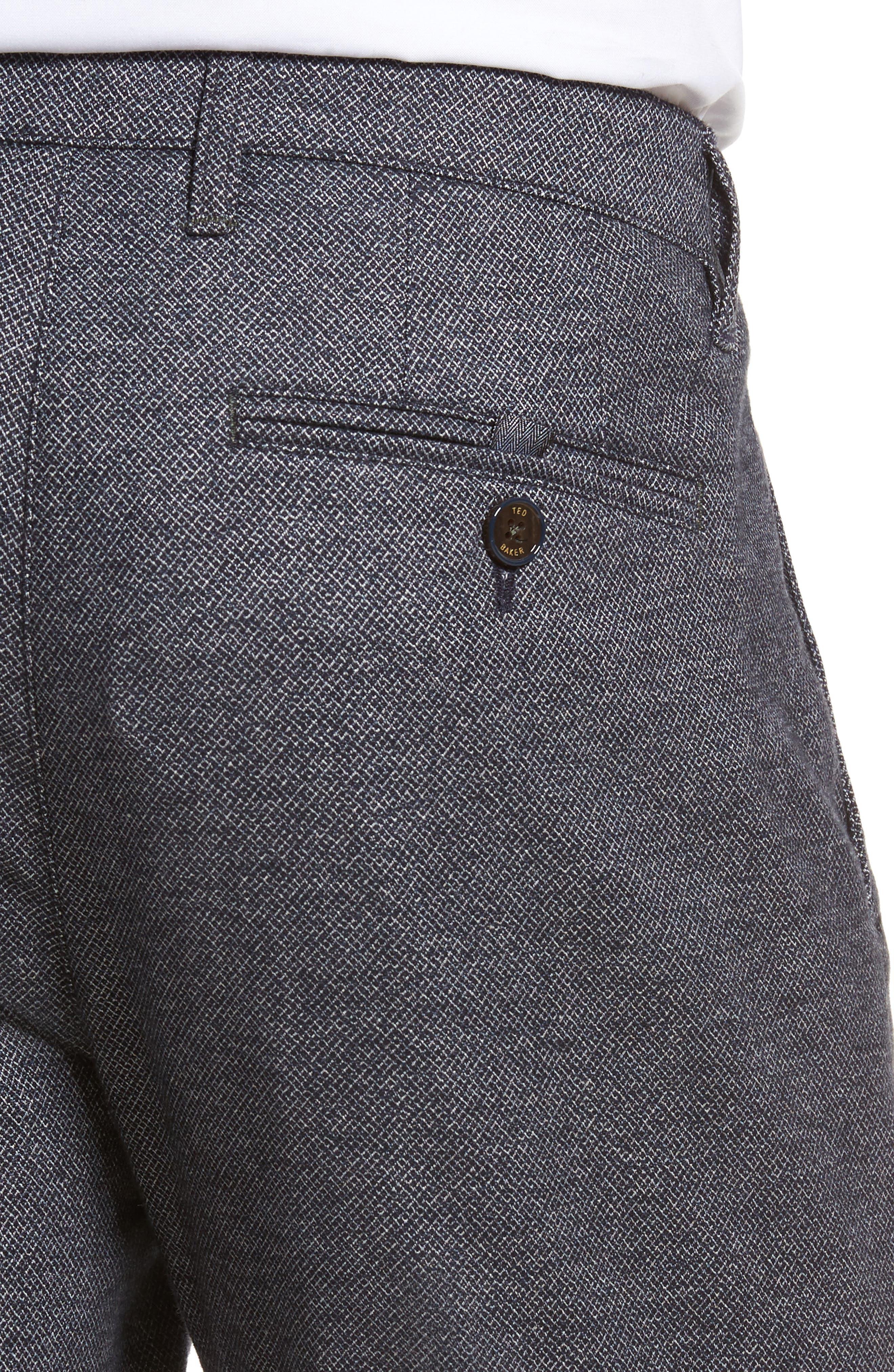 Pintztt Flat Front Stretch Solid Cotton Pants,                             Alternate thumbnail 4, color,                             Navy