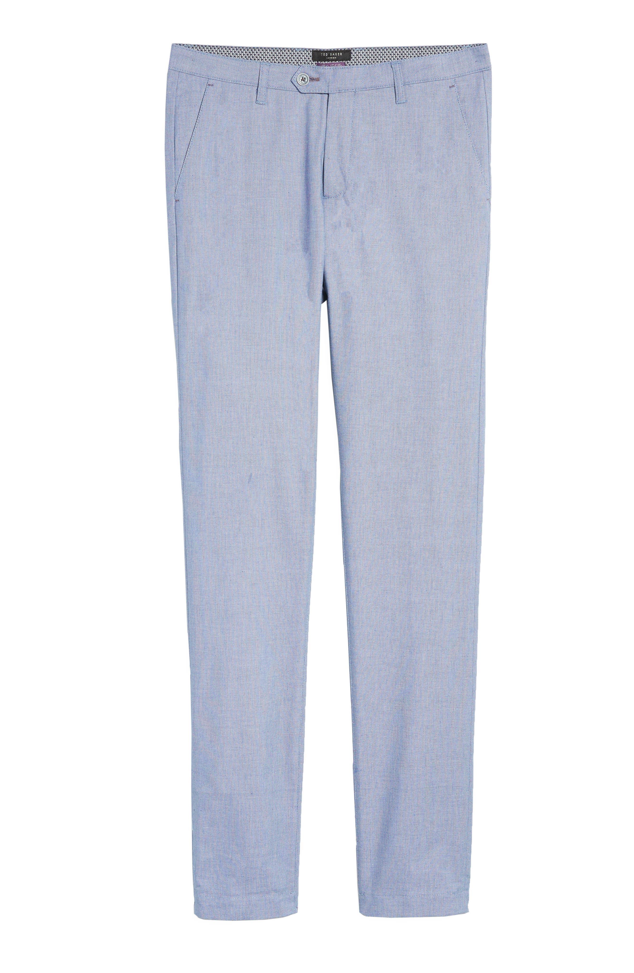 Holldet Flat Front Stretch Solid Cotton Pants,                             Alternate thumbnail 5, color,                             Light Blue