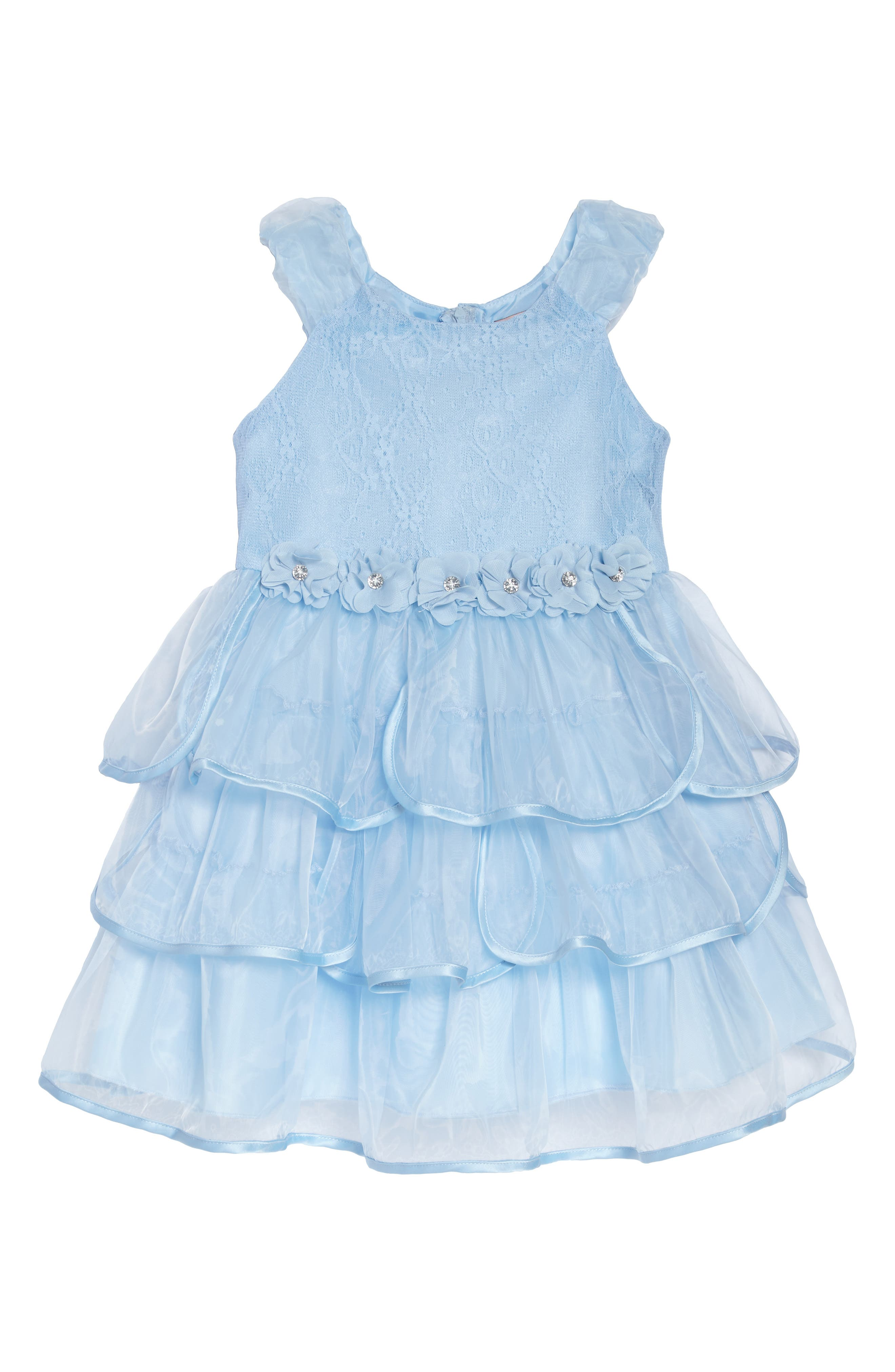 Tiered Organza Party Dress,                             Main thumbnail 1, color,                             Light Blue