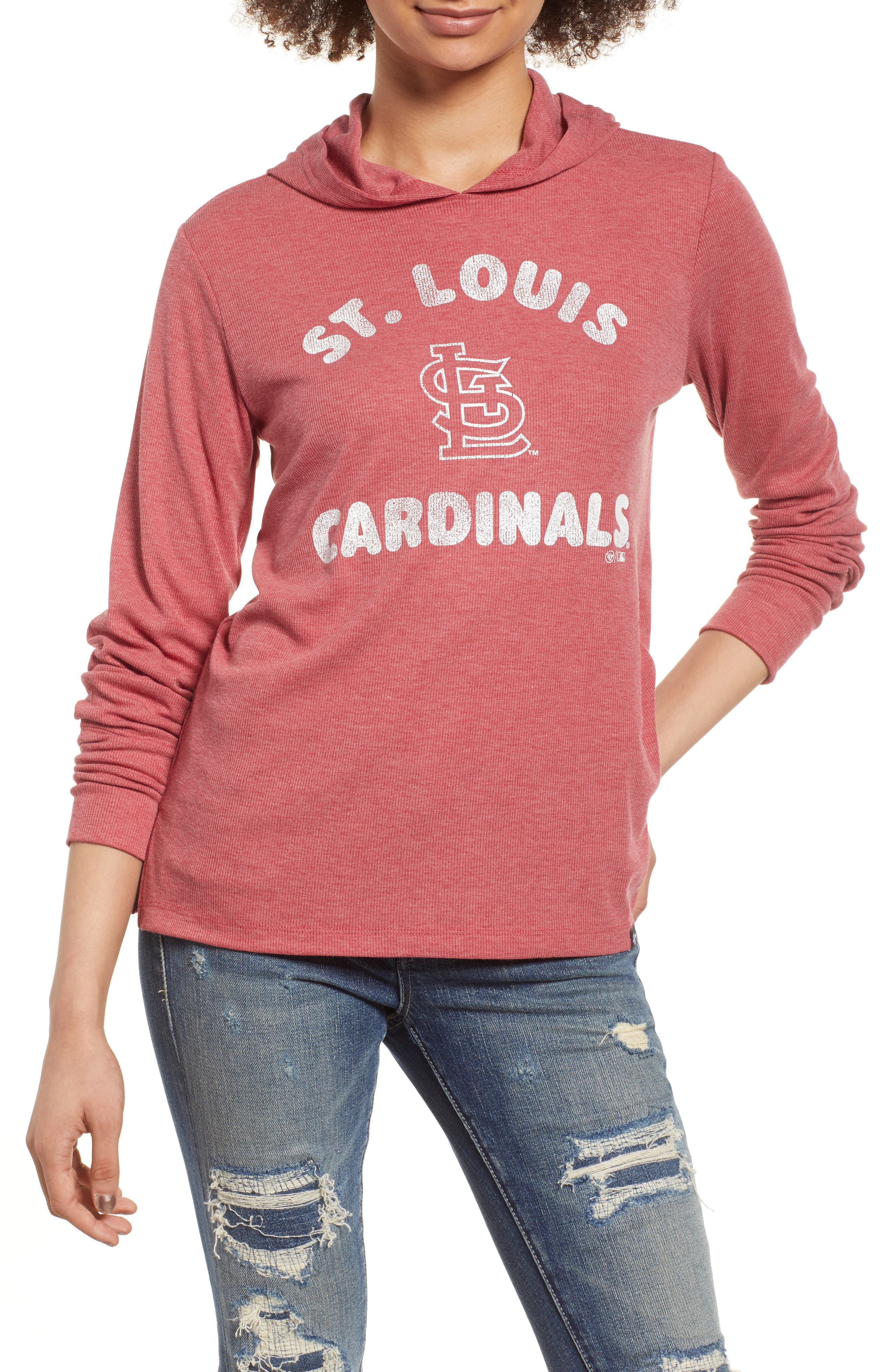 Campbell St. Louis Cardinals Rib Knit Hooded Top,                         Main,                         color, Rescue Red