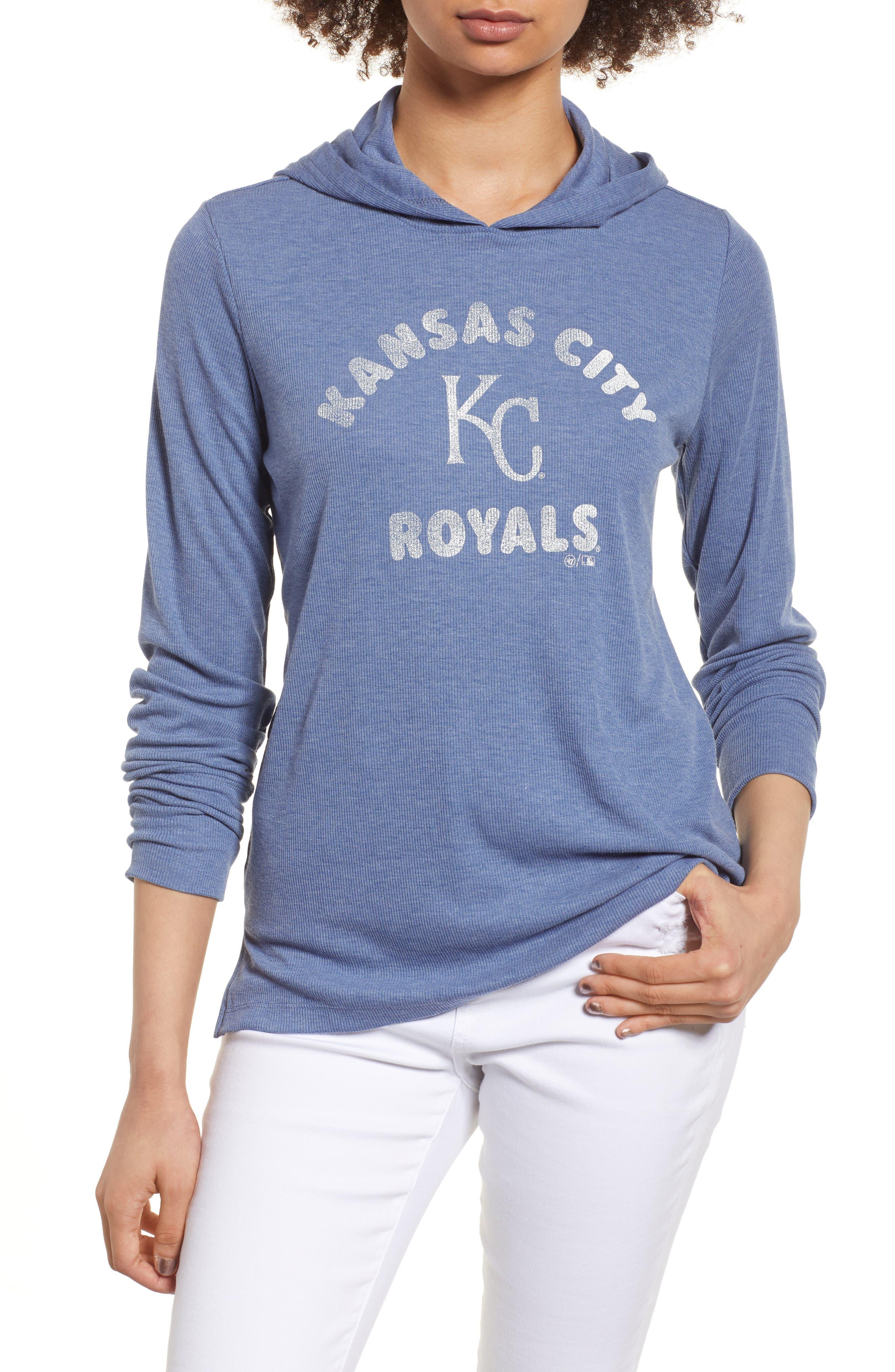 Campbell Kansas City Royals Rib Knit Hooded Top,                         Main,                         color, Bleacher Blue