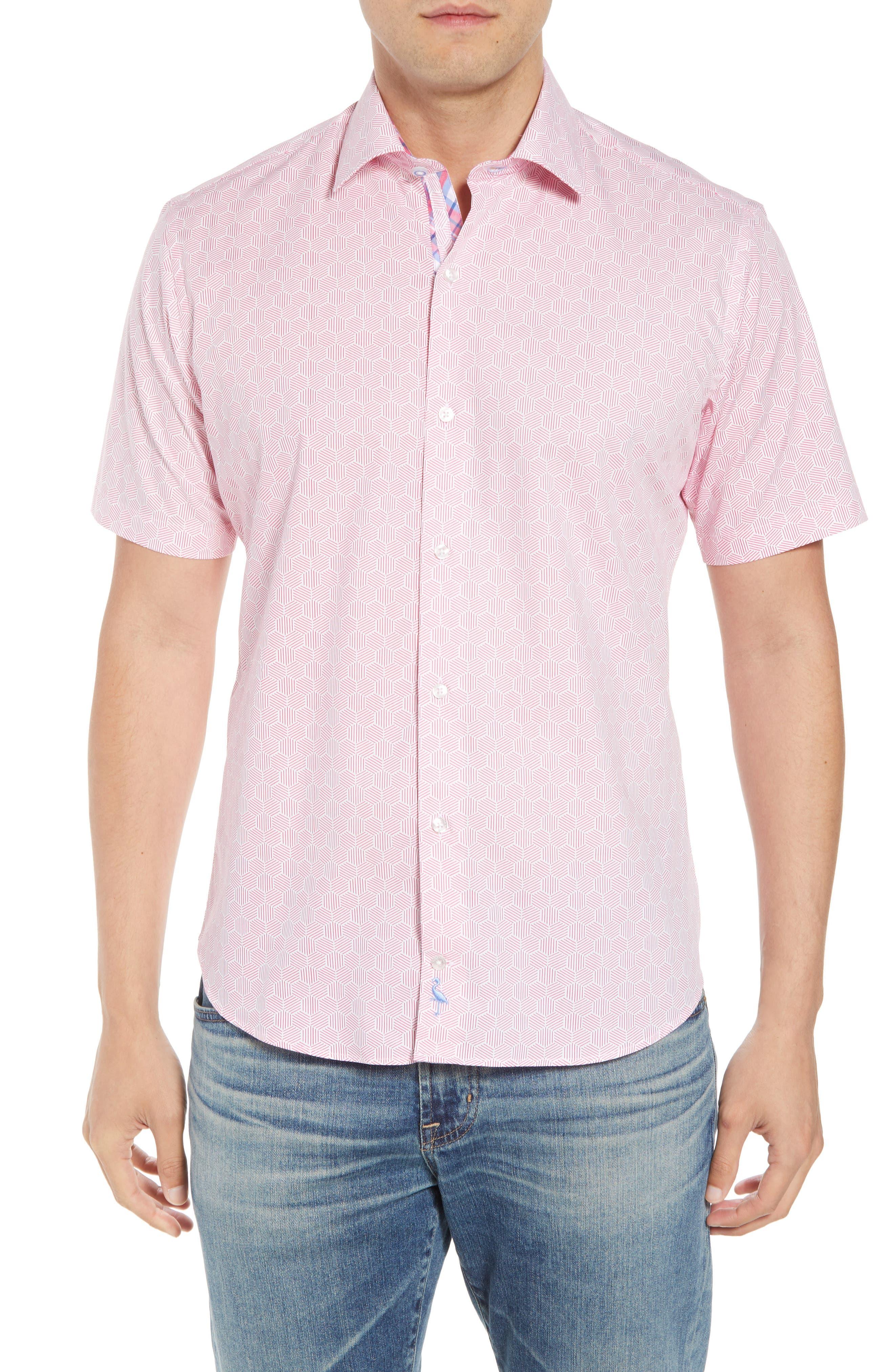 Averon Regular Fit Print Sport Shirt,                         Main,                         color, Fuchsia