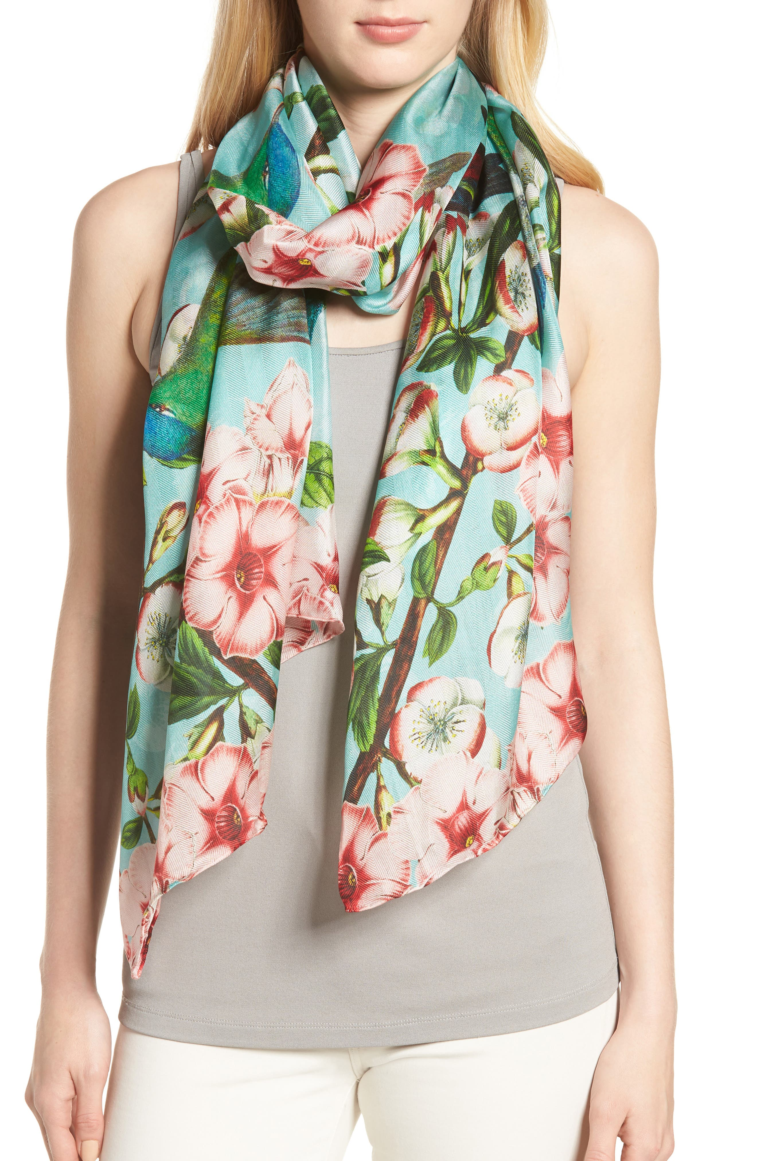 Nectar Long Silk Scarf,                             Main thumbnail 1, color,                             Pale Green