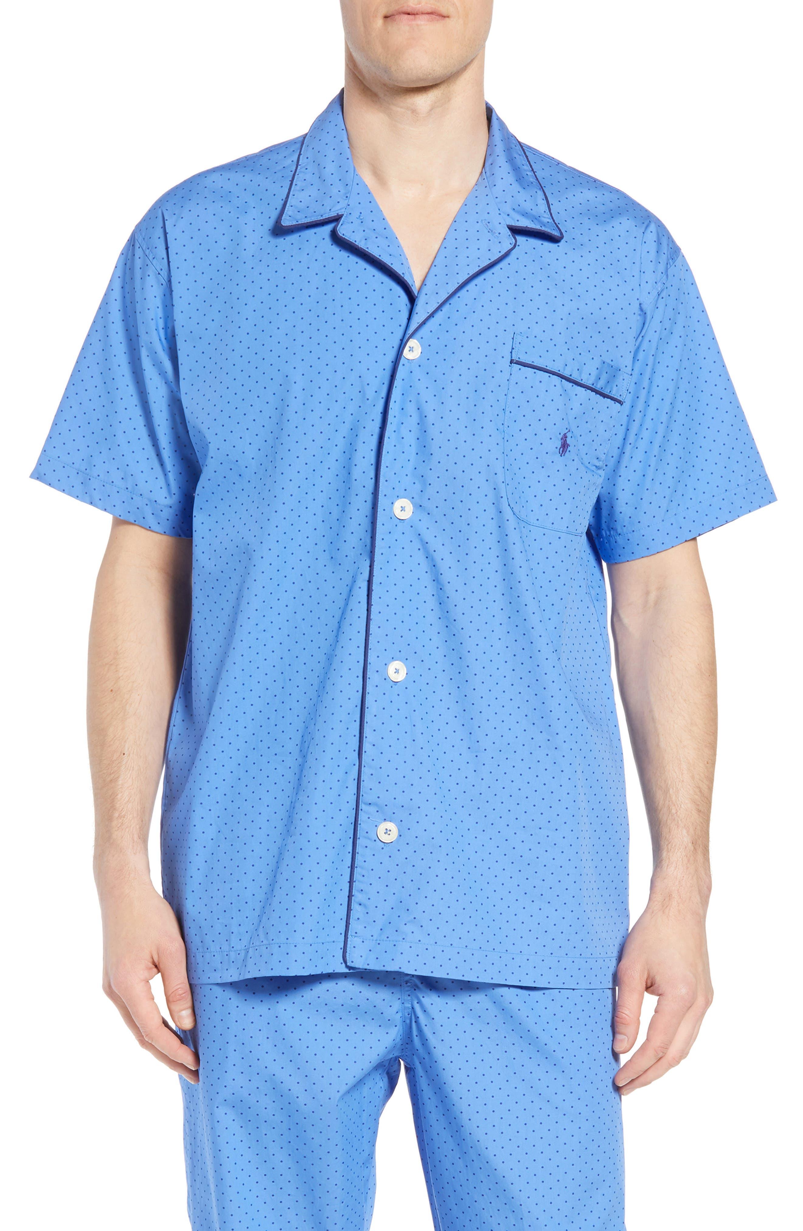 Dot Cotton Pajama Shirt,                             Main thumbnail 1, color,                             Harbour Island Blue/ Navy