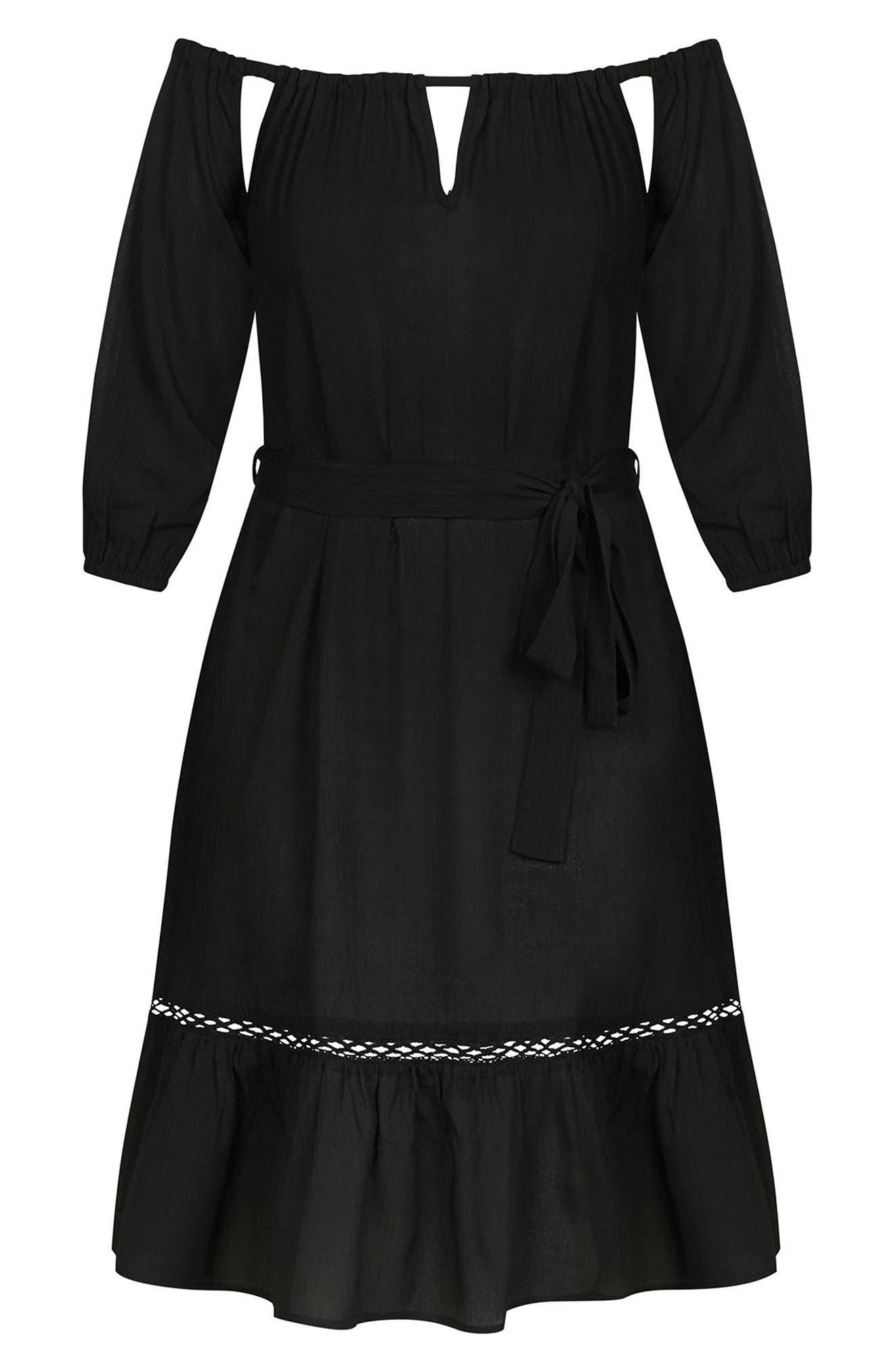 Darling Diva Off the Shoulder Dress,                             Alternate thumbnail 3, color,                             Black