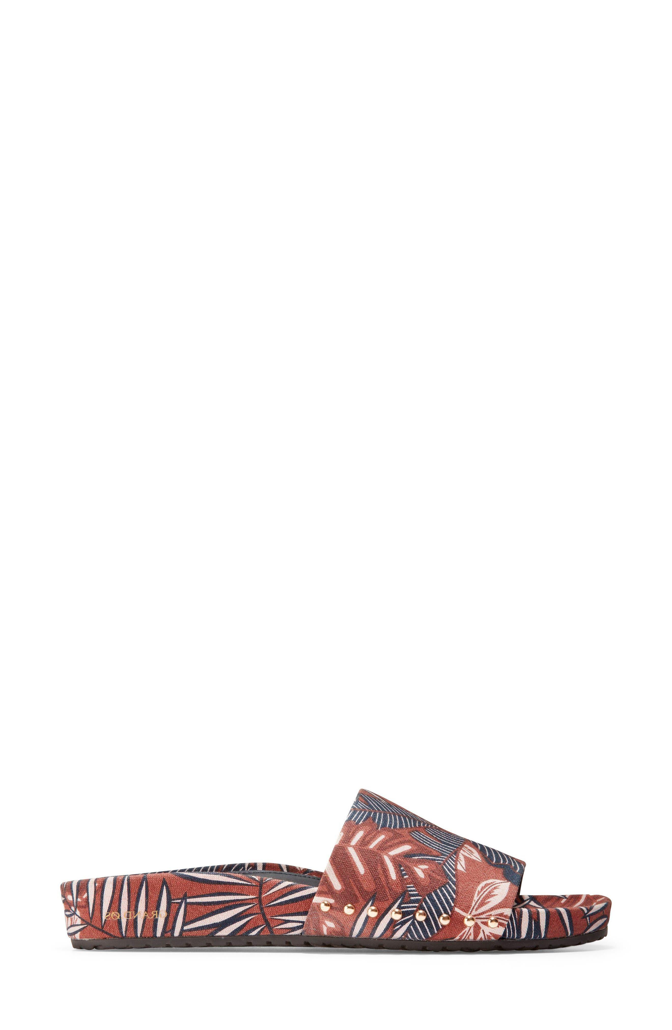 Pinch Montauk Print Slide Sandal,                             Alternate thumbnail 3, color,                             Tropical Palm Print Fabric