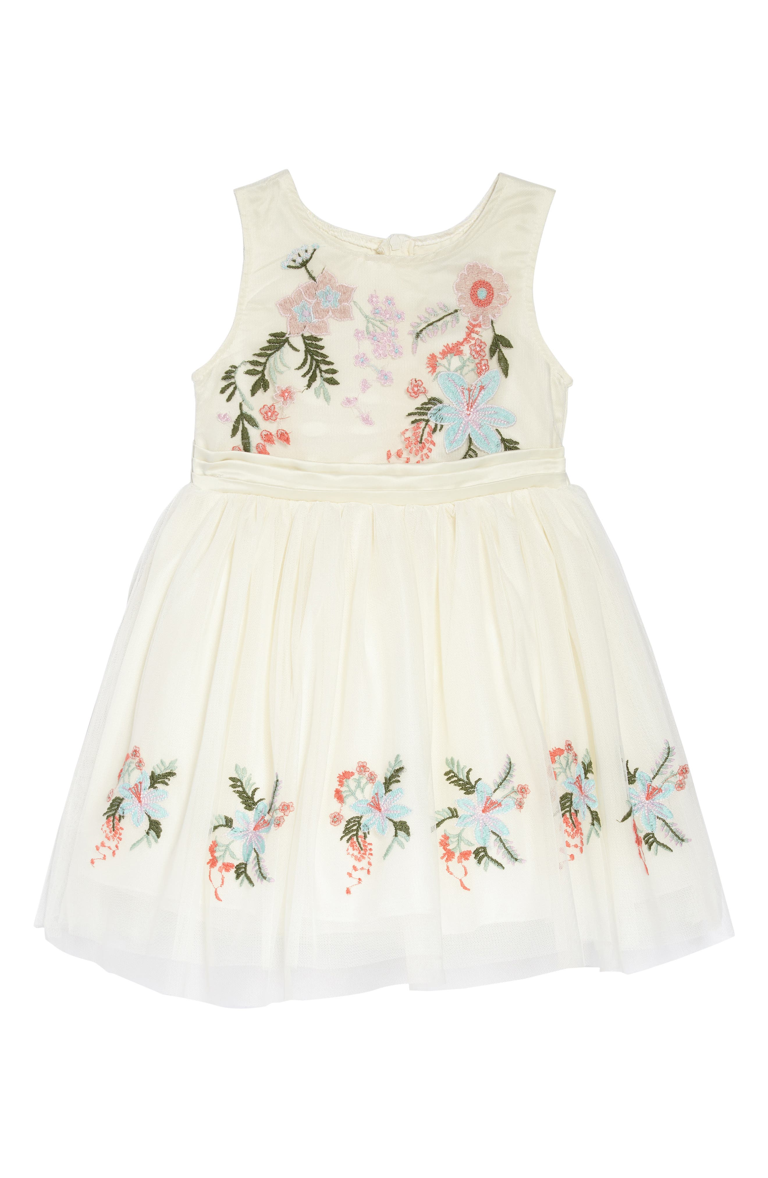 Flower Embroidered Party Dress,                             Main thumbnail 1, color,                             Off-White