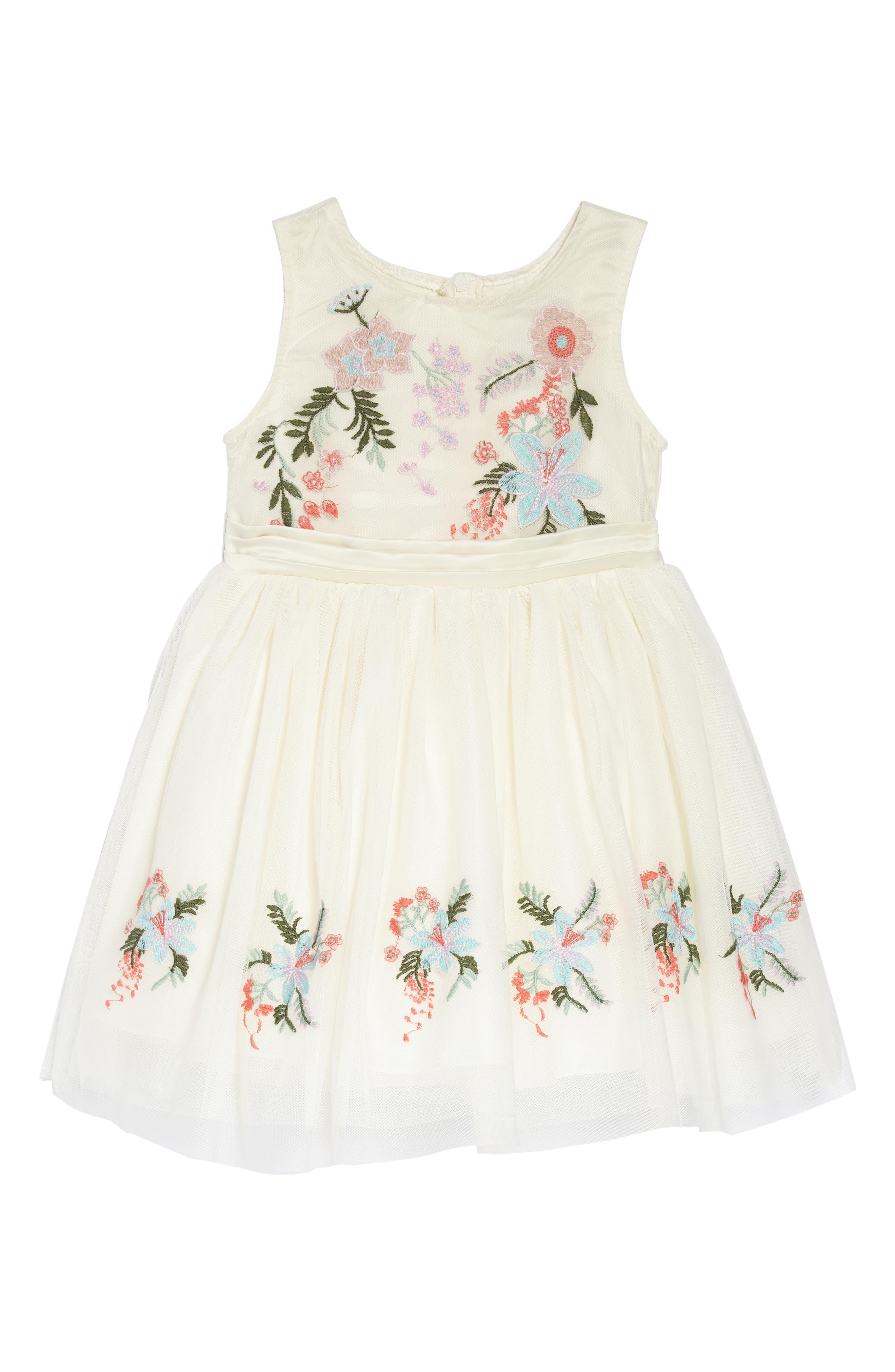 Alternate Image 1 Selected - Nanette Lepore Flower Embroidered Party Dress (Toddler Girls & Little Girls)