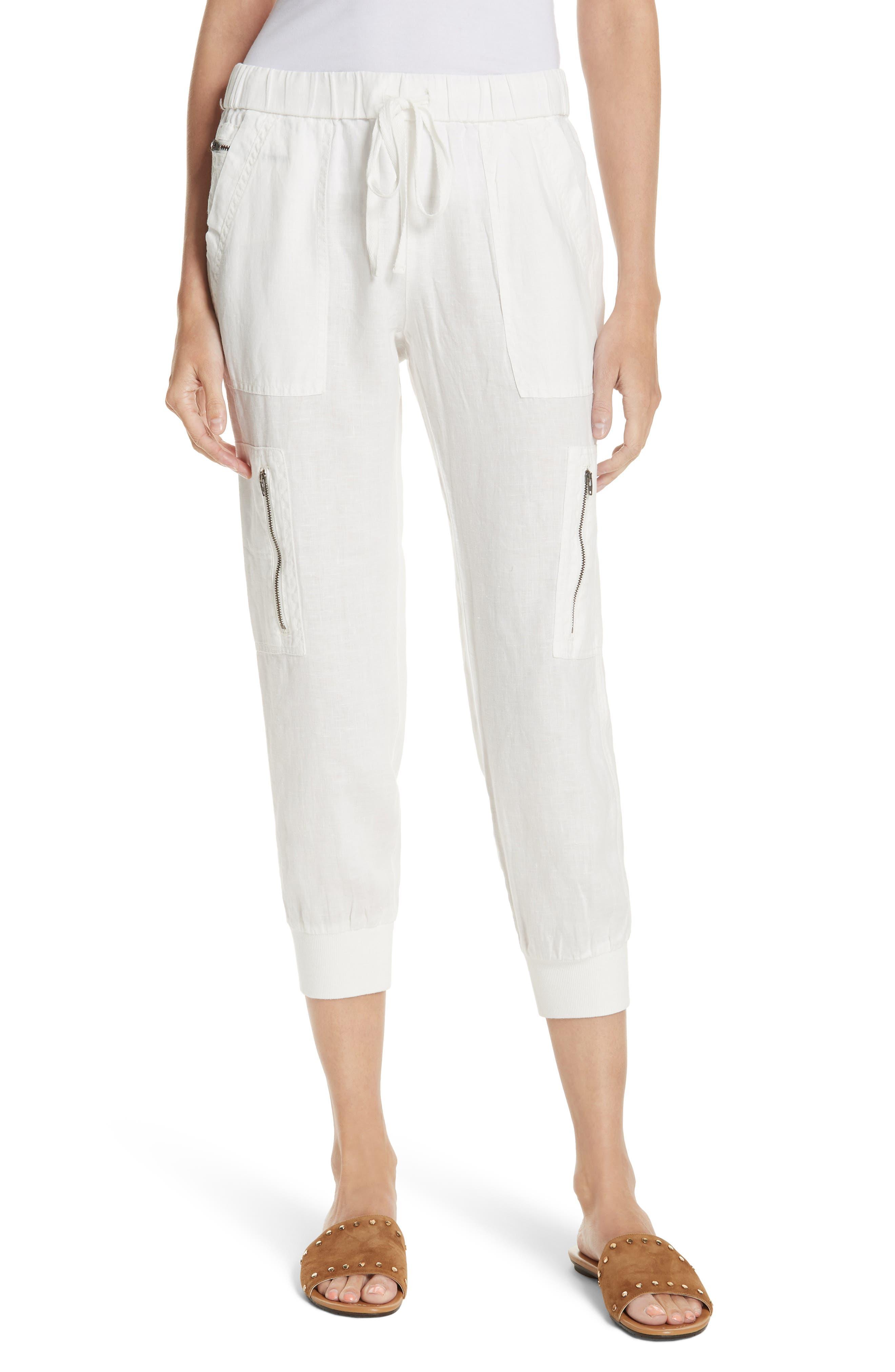 Florimel Crop Linen Jogger Pants,                             Main thumbnail 1, color,                             Porcelain