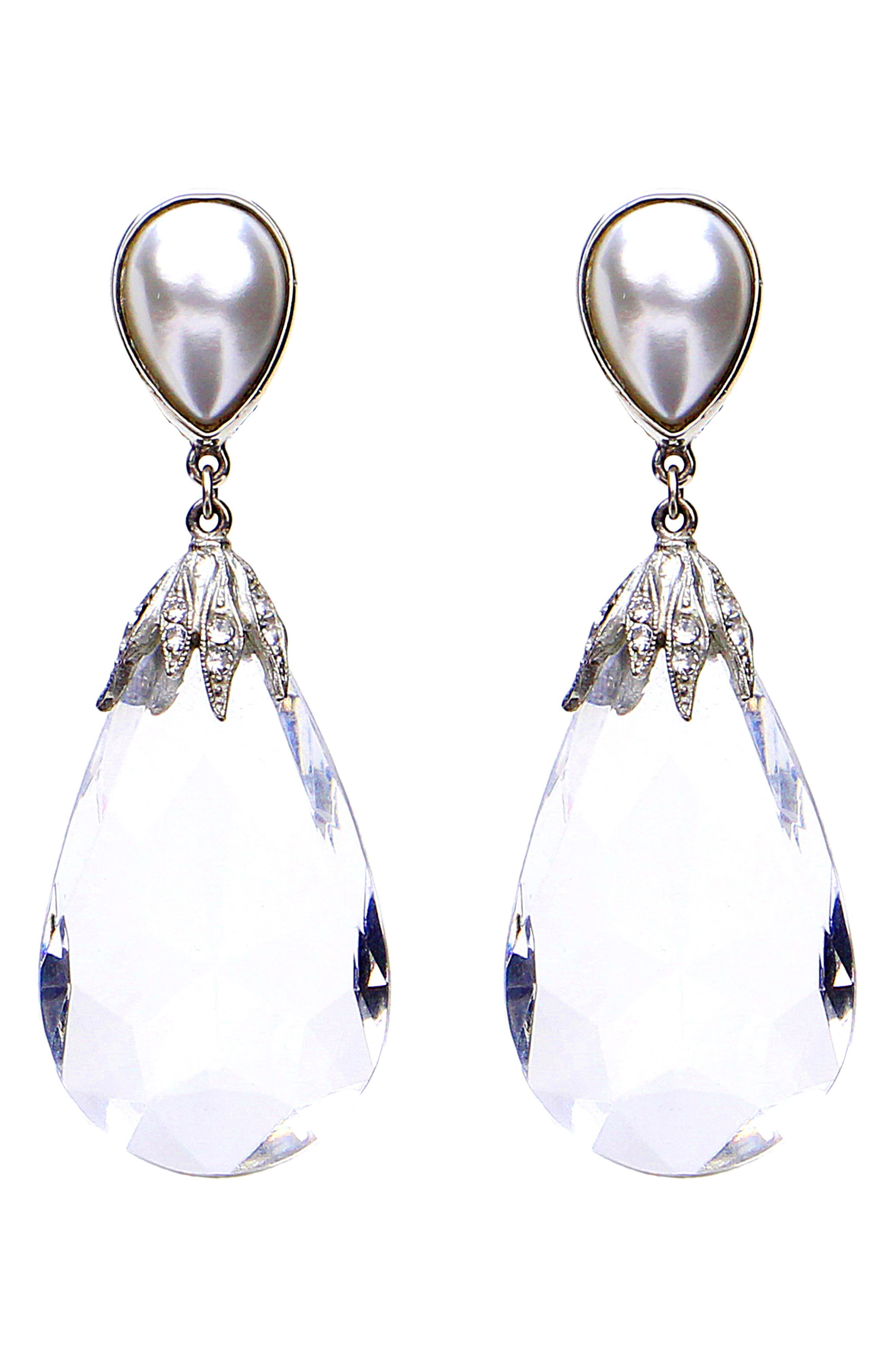 Imitation Pearl & Crystal Drop Earrings,                             Main thumbnail 1, color,                             Clear/ Silver