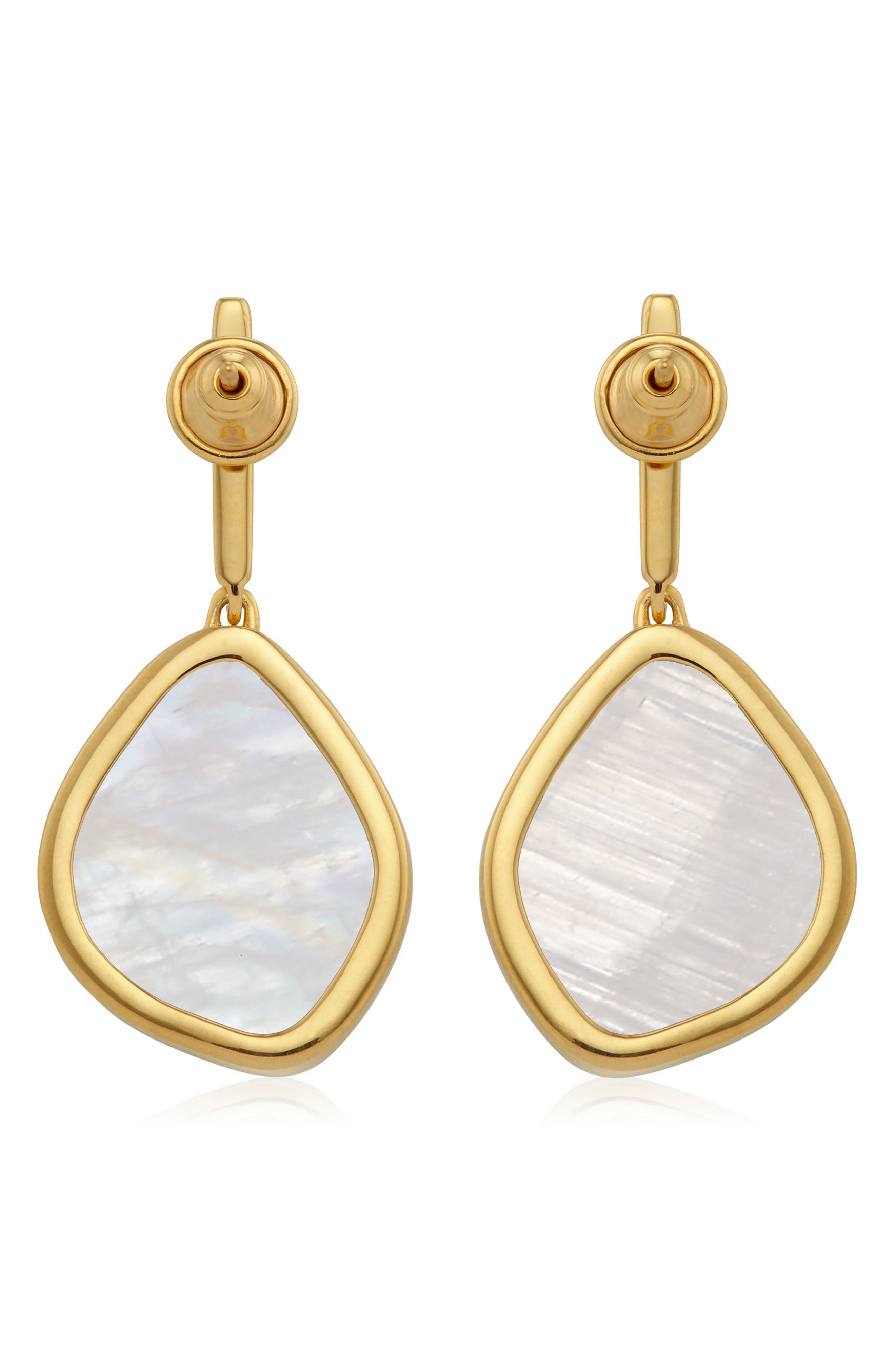 Siren Nugget Semiprecious Stone Drop Earrings,                             Alternate thumbnail 2, color,                             Yellow Gold/ Moonstone