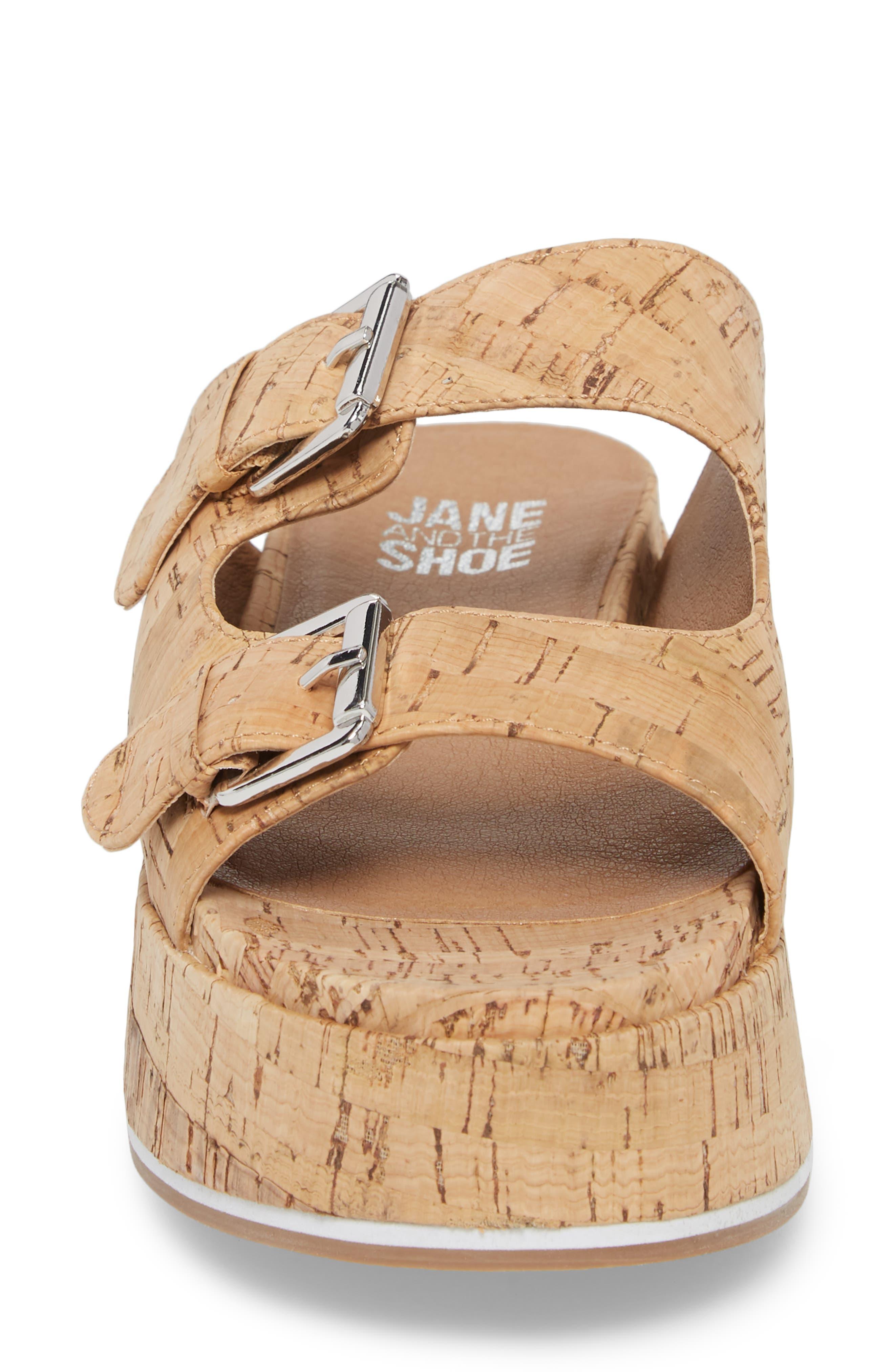 Jordan Two-Buckle Slide Sandal,                             Alternate thumbnail 4, color,                             Cork