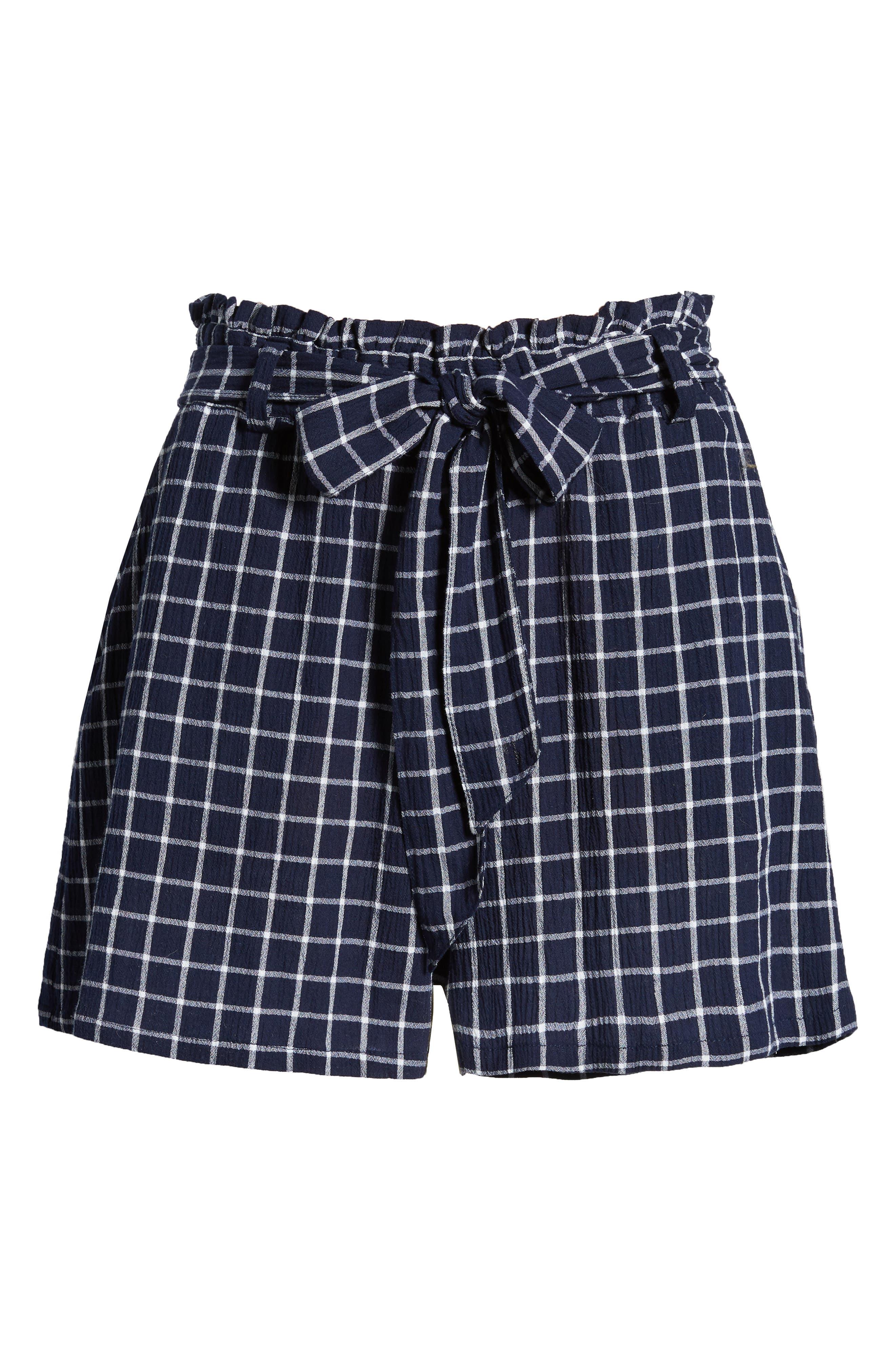 Plaid Paper Bag Waist Shorts,                             Alternate thumbnail 7, color,                             Navy Peacoat Tokyo Check