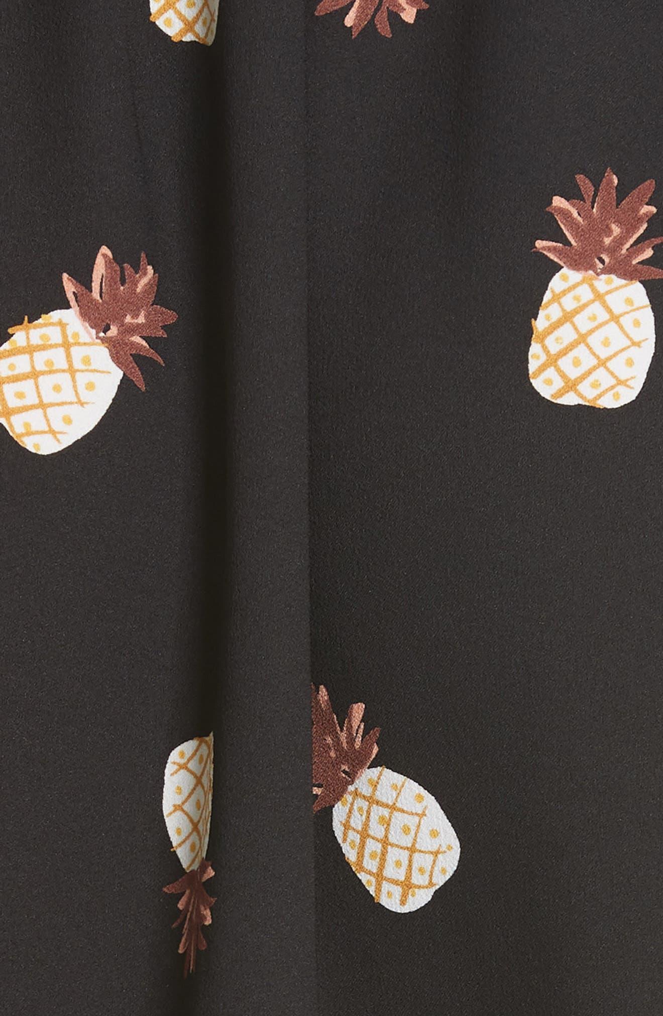 pineapple ruffle dress,                             Alternate thumbnail 3, color,                             Black