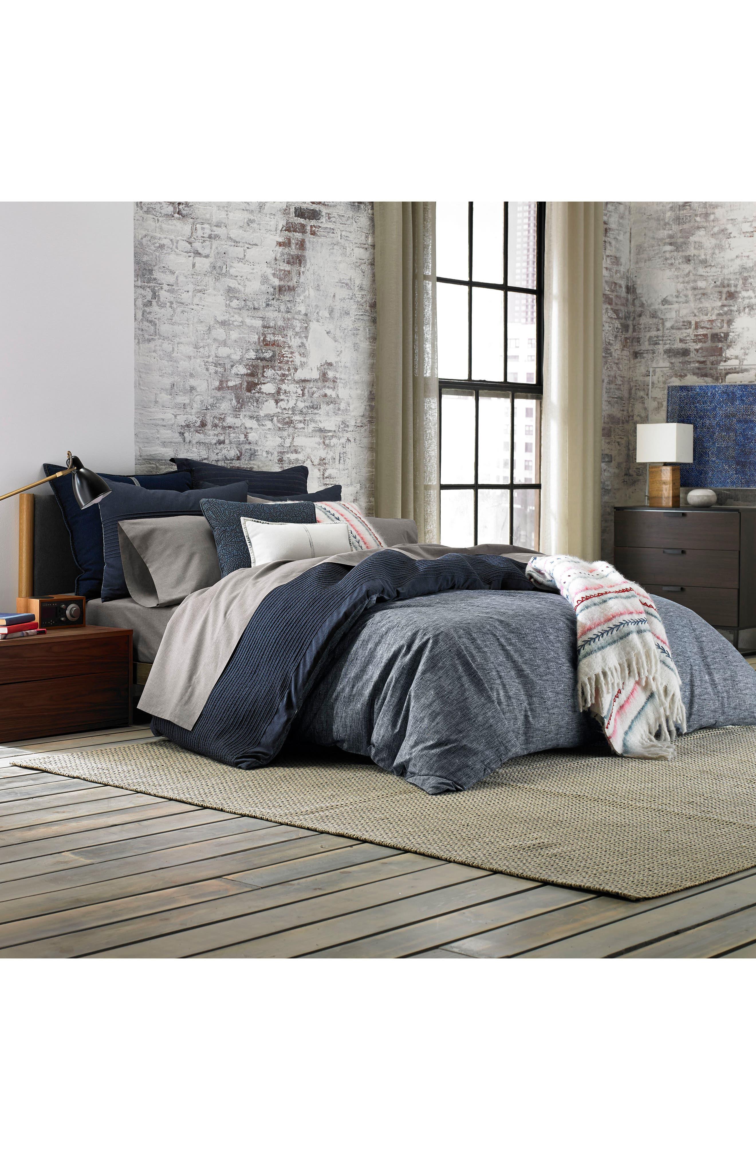 Vintage Pleated Comforter & Sham Set,                             Alternate thumbnail 5, color,                             Denim Blue