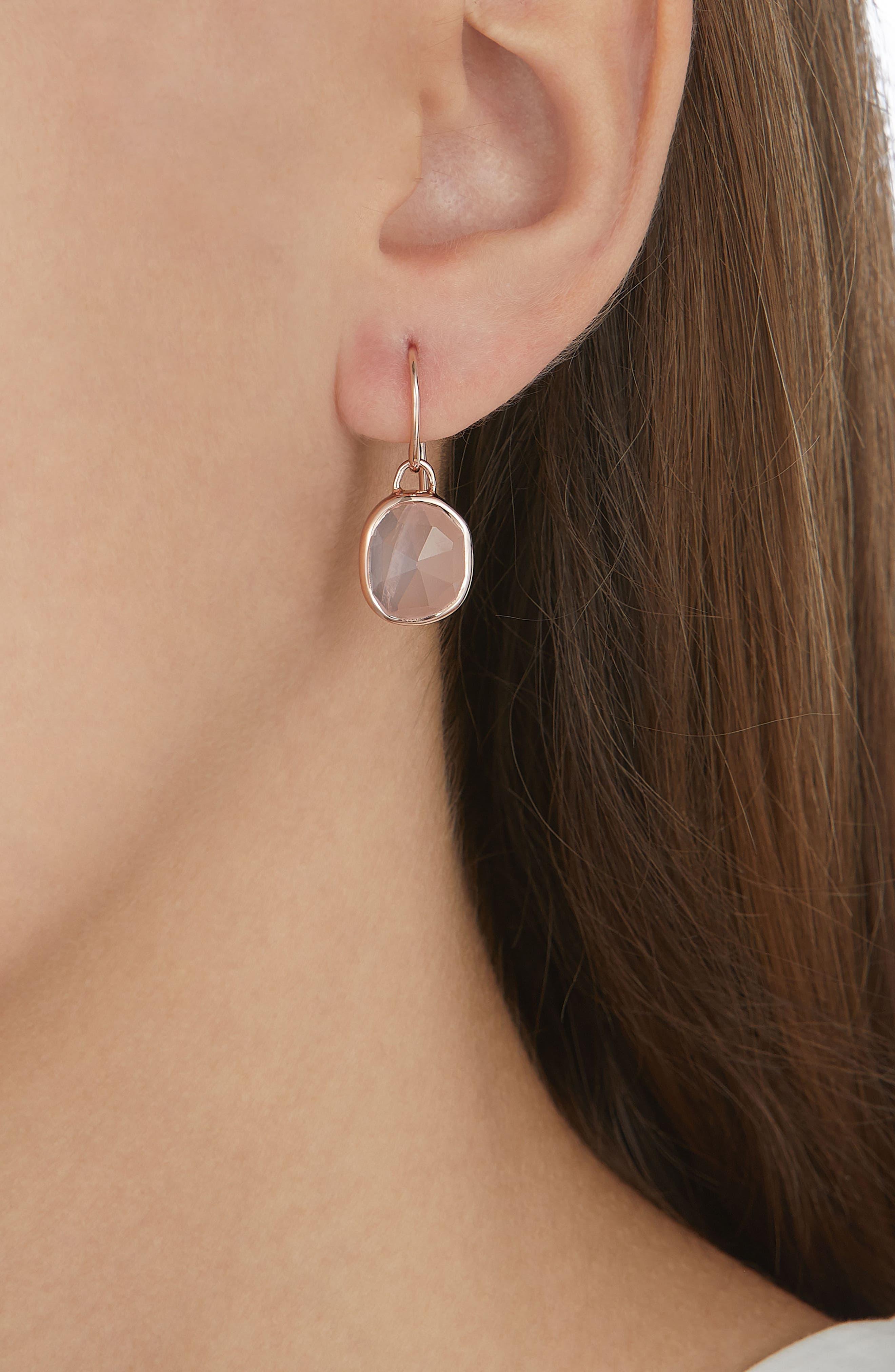 Siren Semiprecious Stone Drop Earrings,                             Alternate thumbnail 3, color,                             Rose Gold/ Rose Quartz